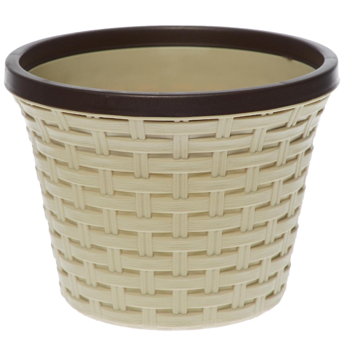 Кашпо Violet Ротанг, с дренажной системой, цвет: бежевый, 2,2 л32220/2Кашпо Violet Ротанг изготовлено из высококачественного пластика и оснащено дренажной системой для быстрого отведения избытка воды при поливе. Изделие прекрасно подходит для выращивания растений и цветов в домашних условиях. Лаконичный дизайн впишется в интерьер любого помещения. Объем: 2,2 л.