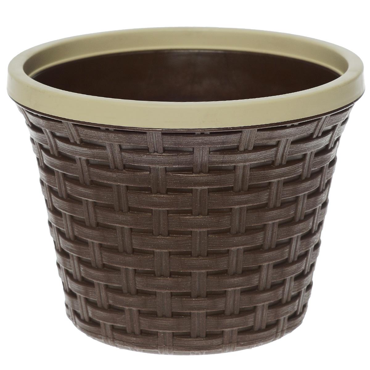 Кашпо Violet Ротанг, с дренажной системой, цвет: коричневый, 2,2 л32220/1Кашпо Violet Ротанг изготовлено из высококачественного пластика и оснащено дренажной системой для быстрого отведения избытка воды при поливе. Изделие прекрасно подходит для выращивания растений и цветов в домашних условиях. Лаконичный дизайн впишется в интерьер любого помещения. Объем: 2,2 л.