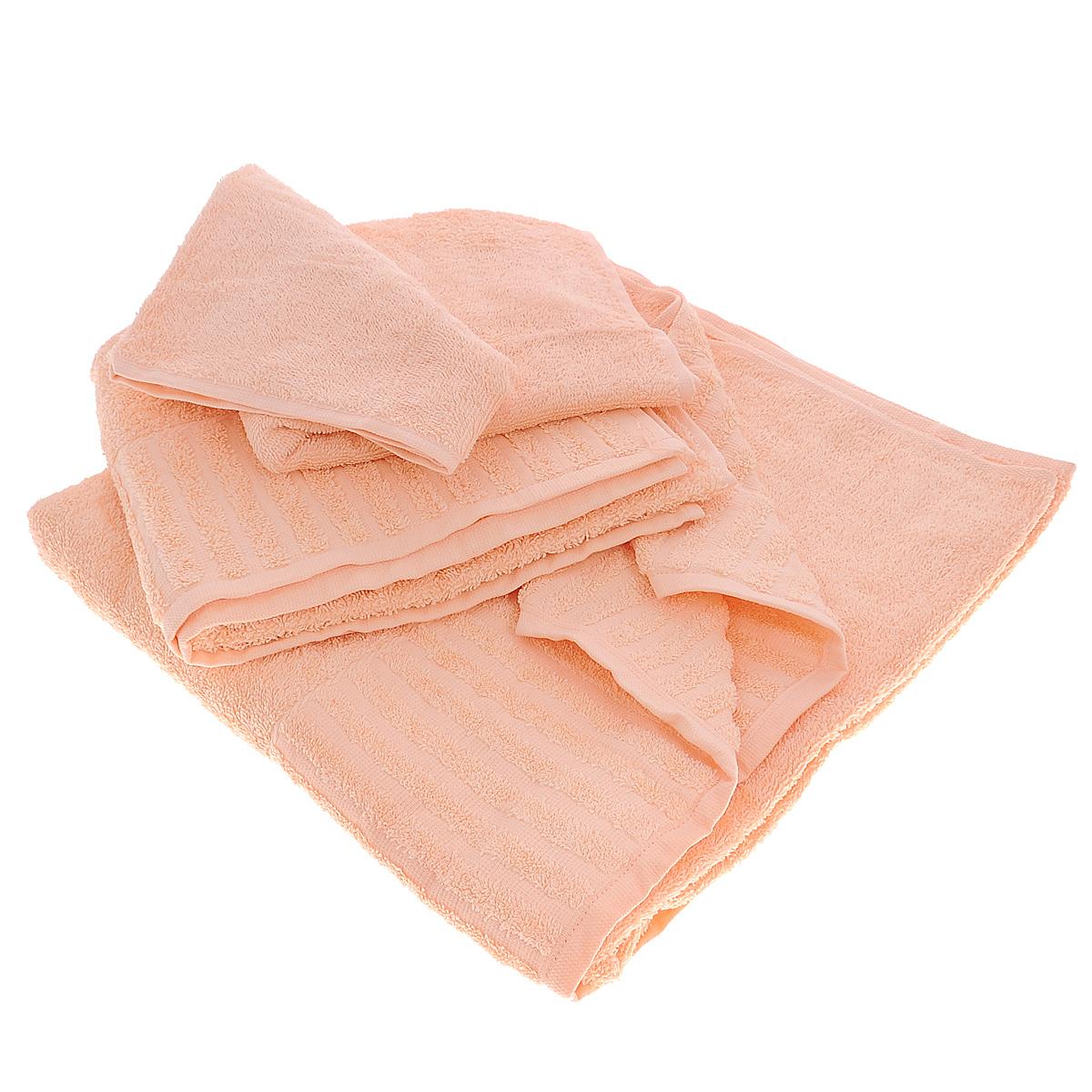 Набор махровых полотенец Bonita, цвет: персиковый, 3 шт01011116346Набор Bonita состоит из трех полотенец разного размера, выполненных из натурального хлопка. Такие полотенца отлично впитывают влагу, быстро сохнут, сохраняют яркость цвета и не теряют формы даже после многократных стирок. Полотенца очень практичны и неприхотливы в уходе. Размер полотенец: 40 см х 70 см; 50 см х 90 см; 70 см х 140 см.