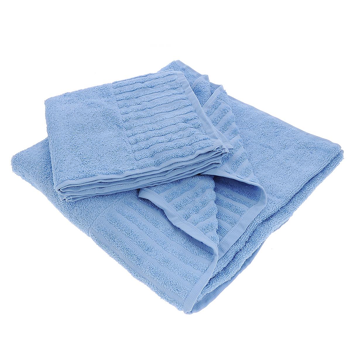Набор махровых полотенец Bonita, цвет: голубой, 2 шт01011116225Набор Bonita состоит из двух полотенец разного размера, выполненных из натурального хлопка. Такие полотенца отлично впитывают влагу, быстро сохнут, сохраняют яркость цвета и не теряют формы даже после многократных стирок. Полотенца очень практичны и неприхотливы в уходе. Размер полотенец: 50 см х 90 см; 70 см х 140 см.