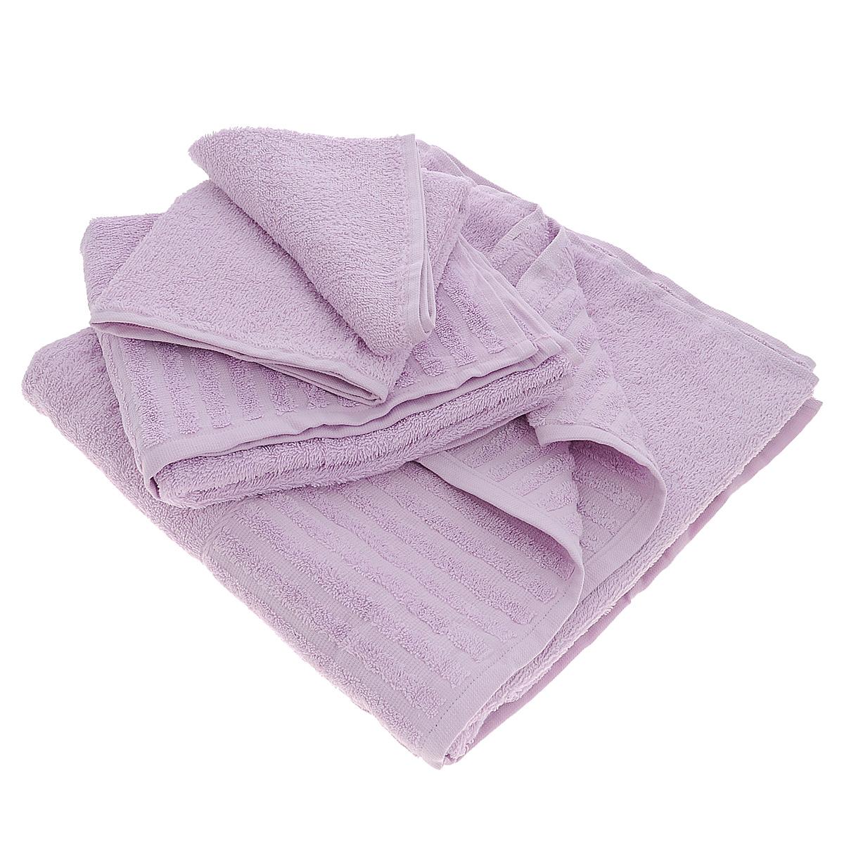 Набор махровых полотенец Bonita, цвет: сиреневый, 3 шт01011116345Набор Bonita состоит из трех полотенец разного размера, выполненных из натурального хлопка. Такие полотенца отлично впитывают влагу, быстро сохнут, сохраняют яркость цвета и не теряют формы даже после многократных стирок. Полотенца очень практичны и неприхотливы в уходе. Размер полотенец: 40 см х 70 см; 50 см х 90 см; 70 см х 140 см.