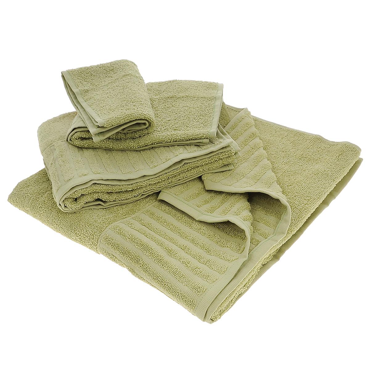 Набор махровых полотенец Bonita, цвет: оливковый, 3 шт01011116342Набор Bonita состоит из трех полотенец разного размера, выполненных из натурального хлопка. Такие полотенца отлично впитывают влагу, быстро сохнут, сохраняют яркость цвета и не теряют формы даже после многократных стирок. Полотенца очень практичны и неприхотливы в уходе. Размер полотенец: 40 см х 70 см; 50 см х 90 см; 70 см х 140 см.