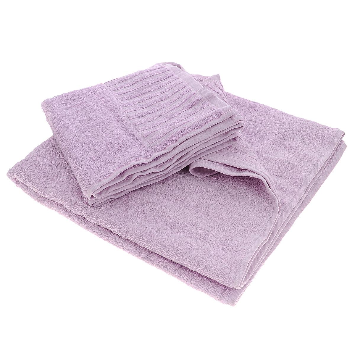 Набор махровых полотенец Bonita, цвет: сиреневый, 2 шт01011116226Набор Bonita состоит из двух полотенец разного размера, выполненных из натурального хлопка. Такие полотенца отлично впитывают влагу, быстро сохнут, сохраняют яркость цвета и не теряют формы даже после многократных стирок. Полотенца очень практичны и неприхотливы в уходе. Размер полотенец: 50 см х 90 см; 70 см х 140 см.