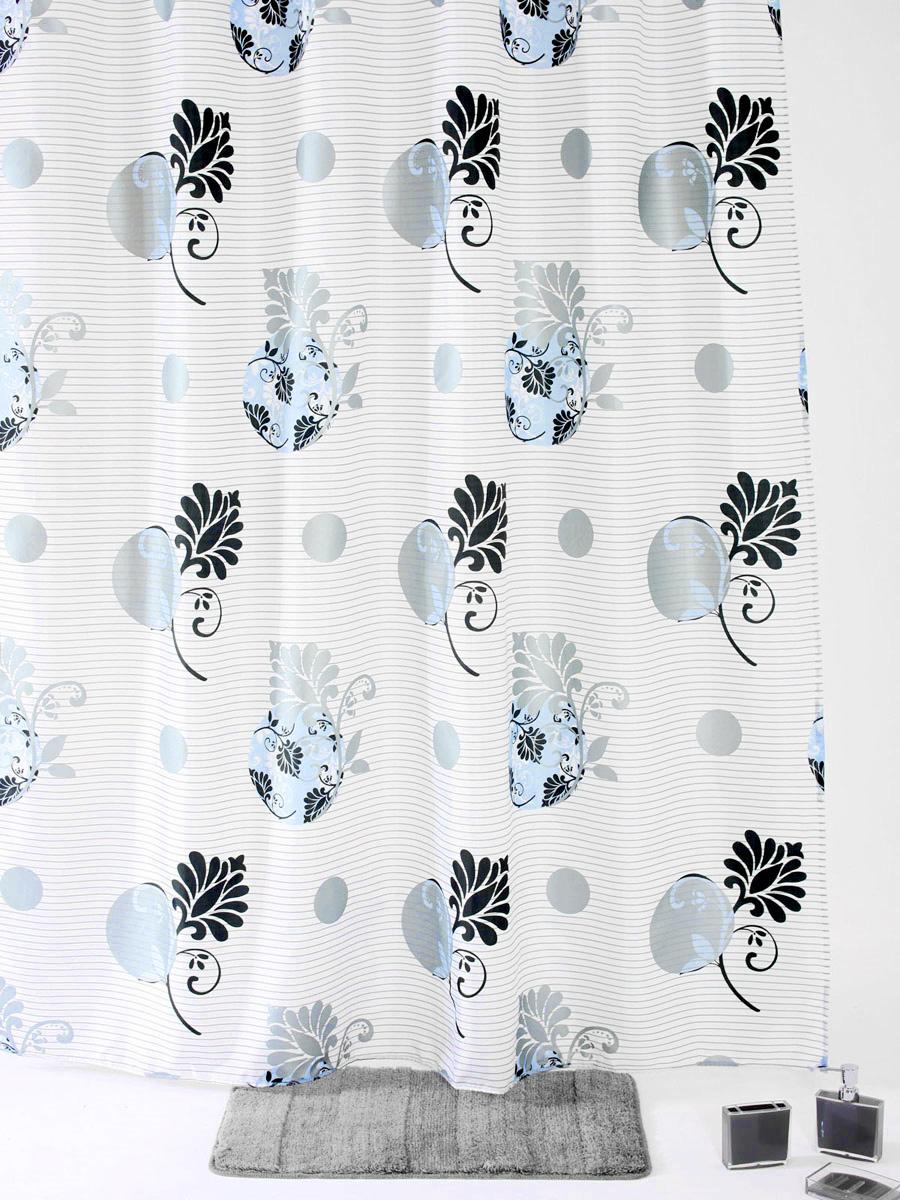 """Штора для ванной White Fox """"Темный цветок"""", с крючками, цвет: белый, серый, голубой, 180 см х 200 см WBCH10-108"""