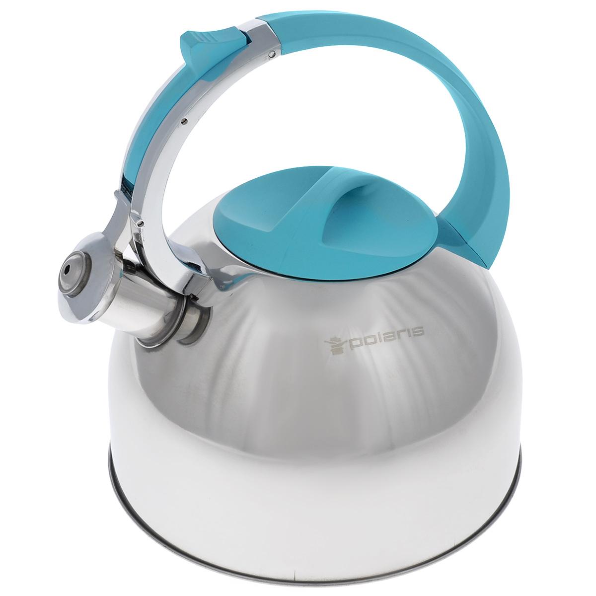 Чайник Polaris Sound со свистком, цвет: стальной, голубой, 3 лSound-3LЧайник Polaris Sound изготовлен из высококачественной нержавеющей стали 18/10. Съемная крышка позволяет легко наполнить чайник водой и обеспечить доступ для мытья. Чайник оповещает о вскипании мелодичным свистом. Клапан на носике открывается нажатием кнопки на ручке. Эргономичная ручка выполнена из бакелита с покрытием Soft touch, не нагревается и не скользит в руке. Зеркальная полировка придает посуде эстетичный вид. Подходит для всех типов плит, в том числе для индукционных. Высота стенок чайника: 14 см. Высота чайника (с учетом ручки): 24,5 см.
