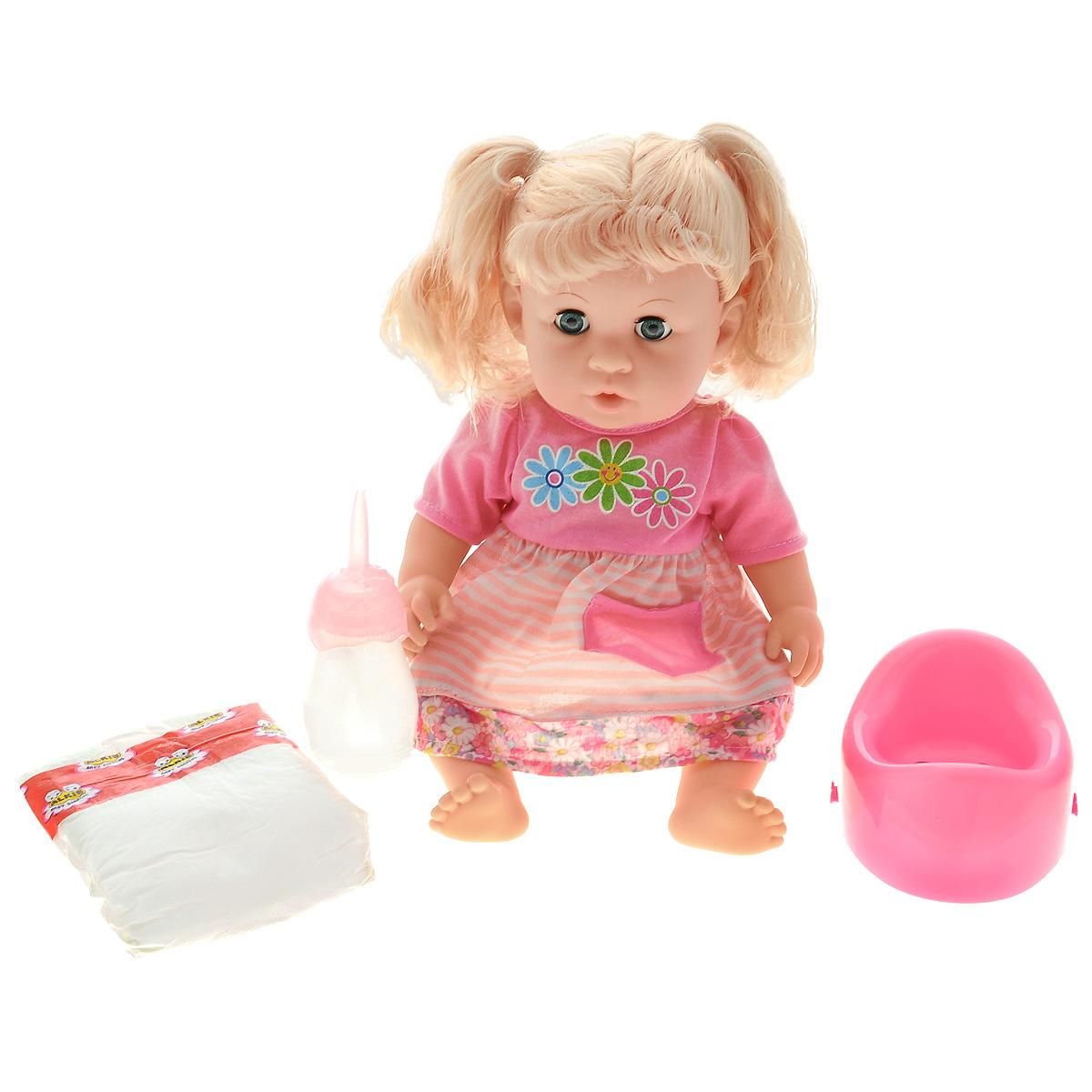Mary Poppins Кукла Мила452026Кукла Мила Mary Poppins отлично подойдет для игры в дочки-матери. Ведь эта кукла выглядит, как настоящий ребенок. У нее голубые глаза, которые открываются и закрываются. Голова, ручки и ножки подвижны, что позволяет придавать ей разнообразные позы. Вашей дочурке непременно понравится заплетать длинные белокурые волосы куклы, придумывая разнообразные прически. А играя с ней, ваша малышка учится заботе и многим бытовым навыкам. Кукла одета в чудесное платье розового цвета, умеет пить из бутылочки и писать на горшок. В комплект входят: кукла, горшок, бутылочка, подгузник. Кукла с аксессуарами поставляется в удобном прозрачном рюкзачке, игровой набор можно взять с собой в поездку или на прогулку. Порадуйте своего ребенка таким замечательным подарком.