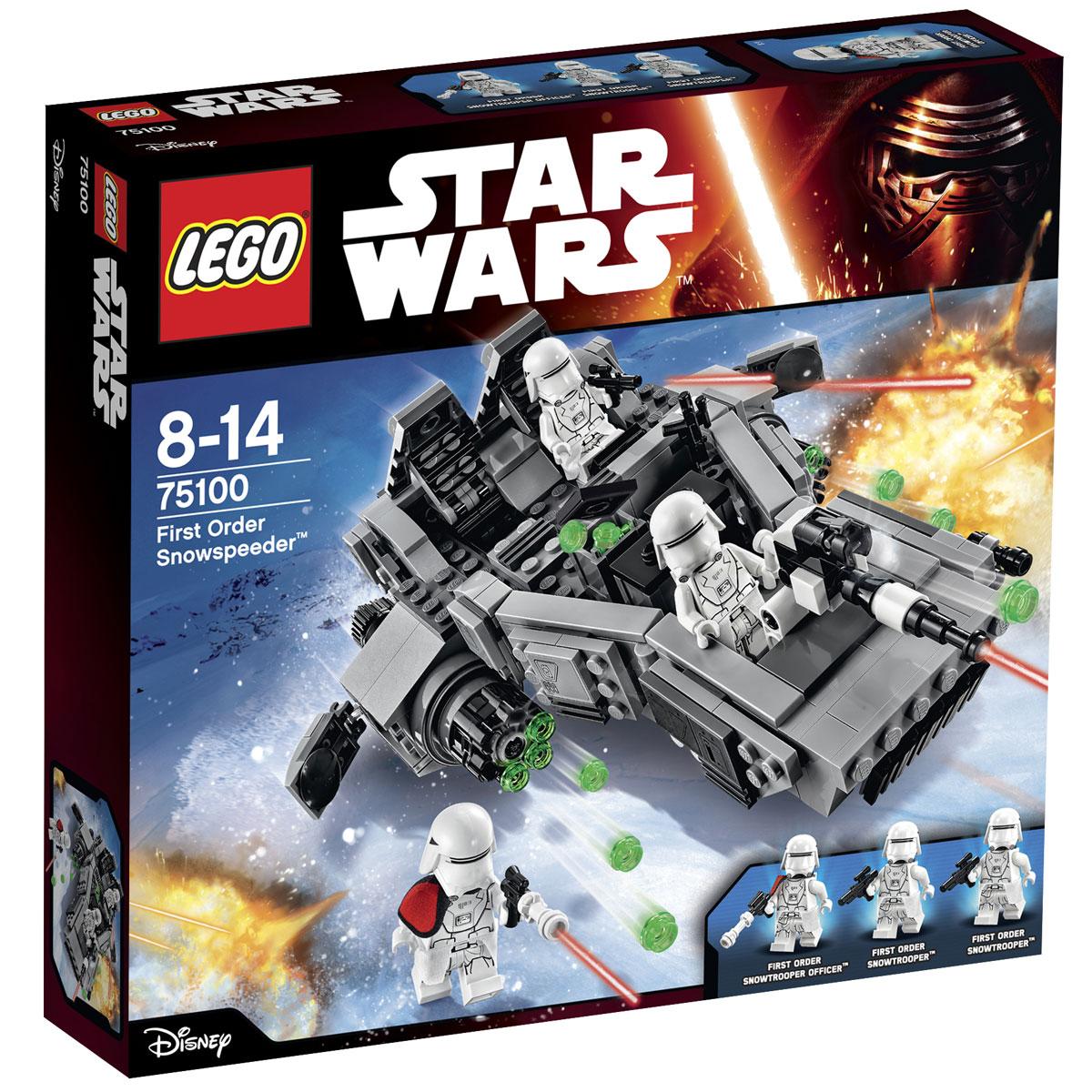 LEGO Star Wars Конструктор Снежный спидер Первого Ордена 7510075100Конструктор LEGO Снежный спидер Первого Ордена станет отличным подарком фанатам Звездных войн! Снежный спидер прекрасно подойдёт для транспортировки штурмовиков и вооружения к местам сражений. Его треугольный корпус, выполненный из деталей серых оттенков, покрыт защитными пластинами, не боящимися экстремально низких температур. В носовой части организовано место стрелка, состоящее из прямоугольной ниши и мощной пушки. Во время патрулирования территорий пушка не активна и находится в сложенном виде, а во время атаки она поднимается и ведёт прицельный огонь по силам противника. В центральной части спидера устроен открытый отсек для хранения, в котором могут поместиться 3 контейнера с боеприпасами и держатели для бластеров. Хвостовая часть боевого корабля оборудована двумя эргономичными креслами с бронированными подголовниками. Левое кресло, снабжённое приборной панелью, предназначено для офицера, а правое - для вооружённого штурмовика. По бокам от них видны мощные двигатели с...