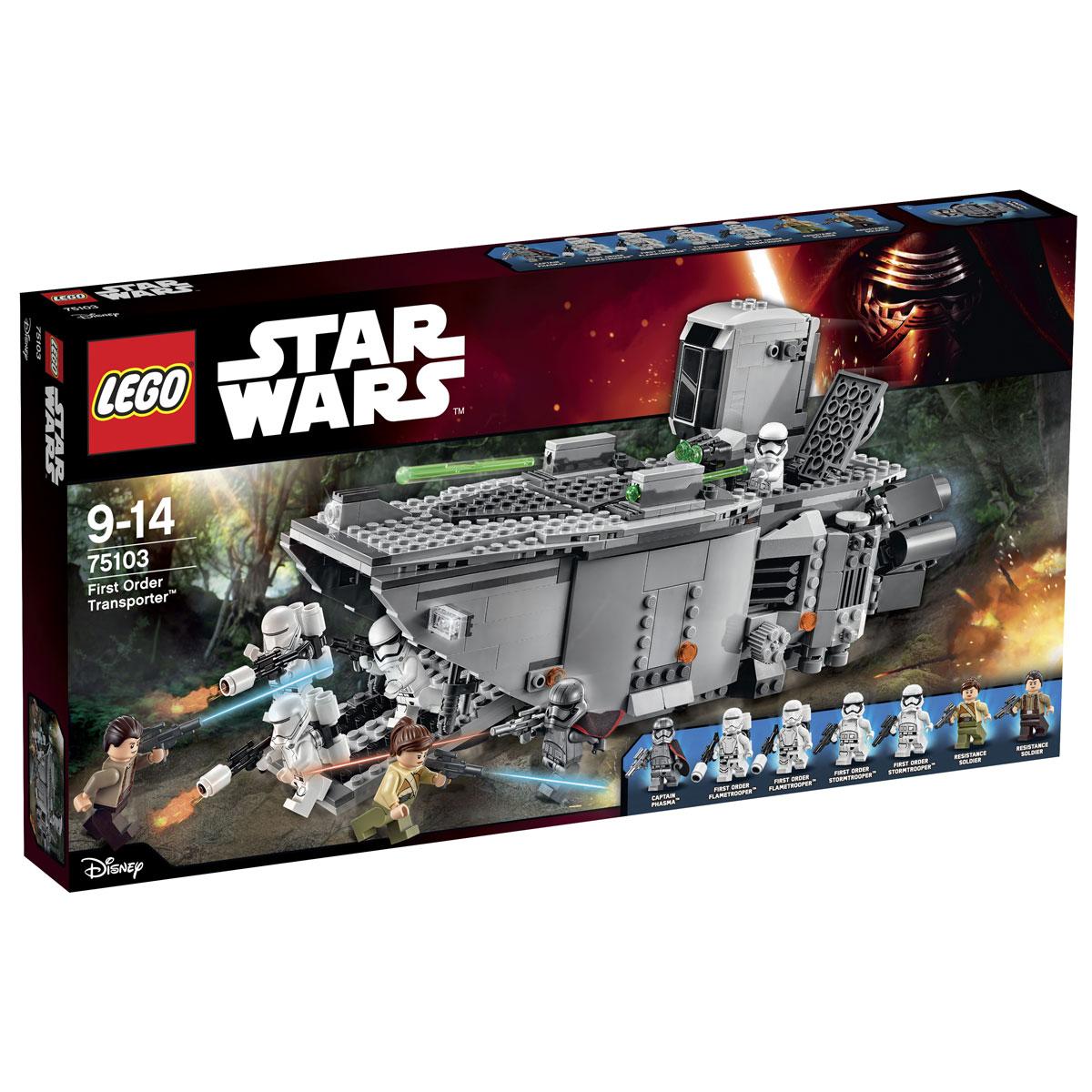 LEGO Star Wars Конструктор Транспорт Первого Ордена 7510375103Конструктор LEGO Транспорт Первого Ордена станет отличным подарком фанатам Звездных войн! Транспортный корабль представляет собой мощный и проходимый танк. Его корпус, покрытый бронированными пластинами, выполнен из деталей серых оттенков. Спереди виден острый задранный нос, на котором закреплены два вида прожекторов. Во время погрузочных работ передняя часть капота опускается, превращаясь в удобный пандус. По нему на борт могут подниматься штурмовики со своим оружием. Работа пандуса регулируется специальным рычагом, расположенным в задней части транспортника. Дополнительным удобством служит съёмная потолочная панель, позволяющая заглянуть внутрь грузового отсека и рассмотреть его интерьер. Для участия в сражениях транспортный корабль оборудован несколькими видами оружия. Две пружинные пушки, установленные на крыше, управляются из дозорной вышки, в которой предусмотрено место для одного пилота-штурмовика и его выдвижной приборной панели. Спаренная малая пушка, вращающаяся...