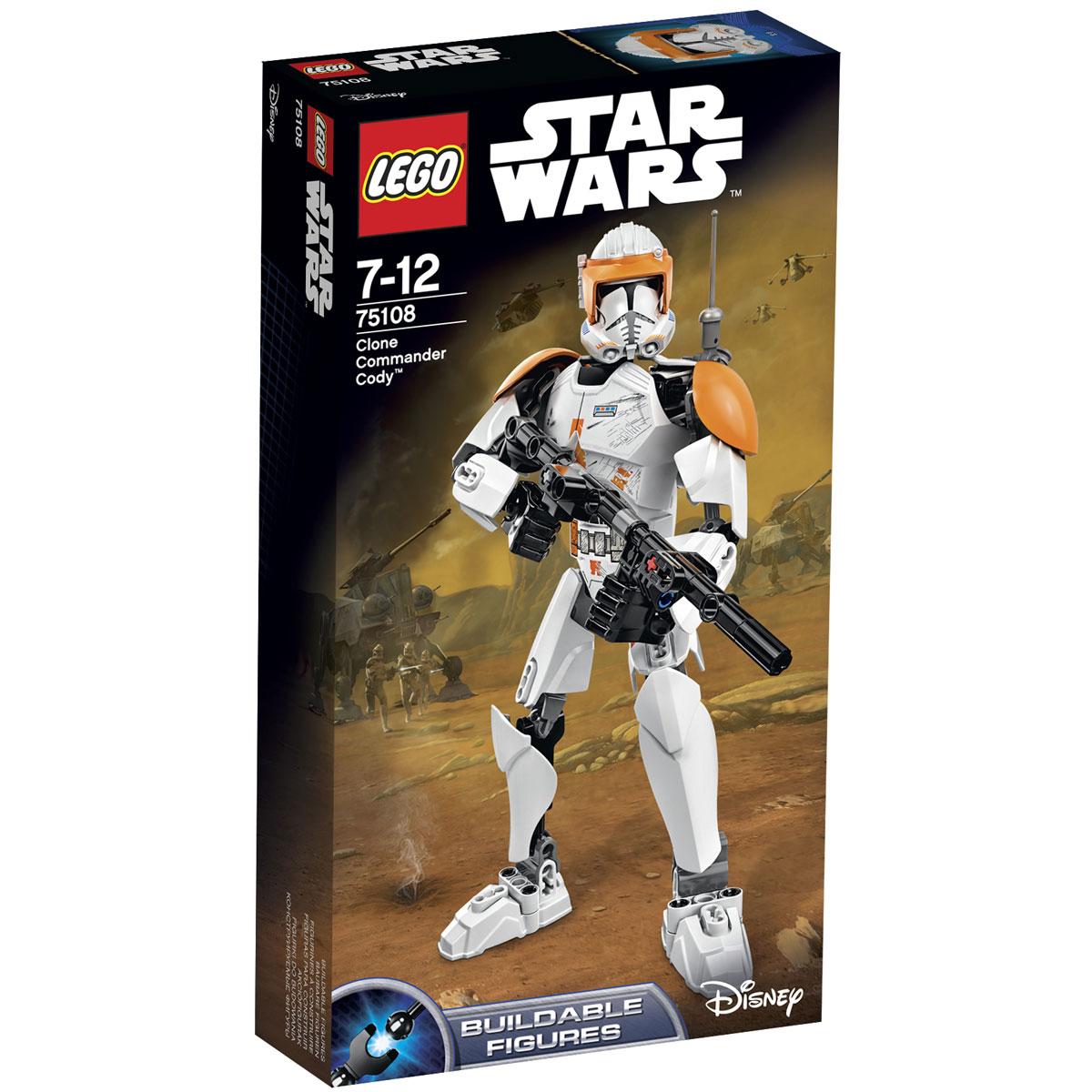 LEGO Star Wars Конструктор Клон коммандер Коди 7510875108Конструктор LEGO Клон-коммандер Коди станет отличным подарком фанатам Звездных войн! Коди, также известный как КК-2224, был одним из миллионов клонов, созданных для сражений на стороне Галактической Республики. В результате долгих тренировок и последующих боевых действий Коди стал проявлять отличные личностные качества. Он развил способность к независимому мышлению и начал самостоятельно анализировать всё, что его окружает. Это не осталось незамеченным, и вскоре рядовой клон получил повышение. Дослужившись до звания клона-коммандера, Коди обзавёлся не только дружественными связями со своими собратьями-клонами, но и заручился поддержкой и уважением многих джедаев. Боевая фигура Коди выполнена с использованием бронированного костюма фазы II, используемого во второй половине Войн клонов. На голове коммандера виден многофункциональный шлем с солнцезащитным оранжевым козырьком. На левом наплечнике установлена обновлённая антенна, а на спине закреплён реактивный ранец....