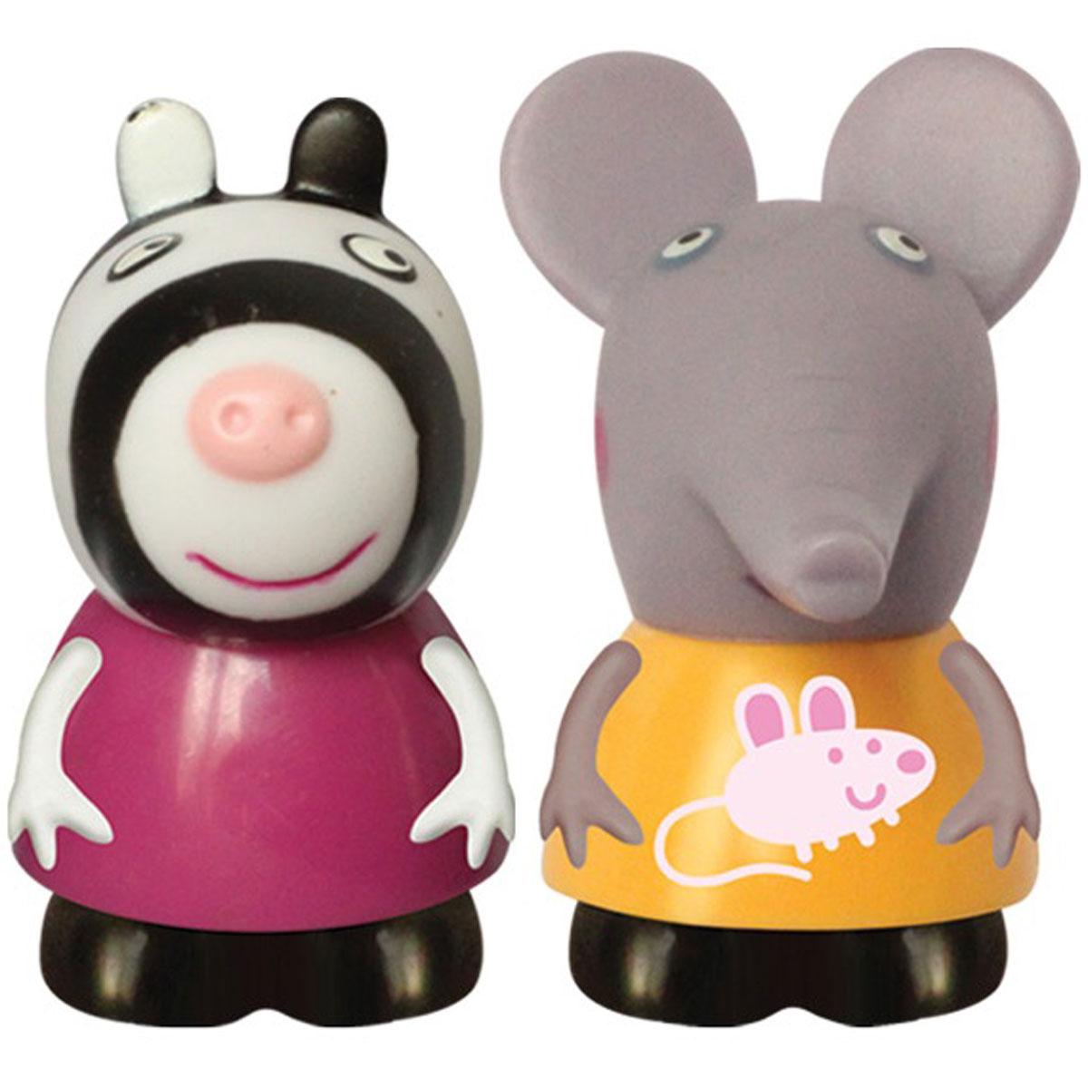 Peppa Pig Игровой набор Эмили и Зои27131Игровой набор Peppa Pig Эмили и Зои непременно понравится вашему ребенку и займет его внимание надолго. Набор включает две фигурки: слоненка Эмили и зебру Зои. Фигурки выполнены из мягкого пластизоля. Ваш ребенок будет с удовольствием играть с этим набором, придумывая различные истории и составляя собственные сюжеты. Пеппа - симпатичная маленькая свинка, которая живет вместе со своими Мамой Свинкой, Папой Свином и маленьким братиком Джорджем. Пеппа обожает играть, наряжаться, бывать в новых местах и заводить новые знакомства, но самое любимое занятие Пеппы - прыгать в грязных лужах. Герои мультфильма наделены частично качествами людей, частично качествами животных. Они ходят в одежде, живут в домах, ездят на машинах, ходят на работу и в театр. Дети отмечают дни рождения, играют в парках, катаются на катках и занимаются всем, что присуще людям. В то же время свинки постоянно хрюкают, овечки блеют, а кошки мяукают. Игровой набор Peppa Pig Эмили и Зои станет отличным...