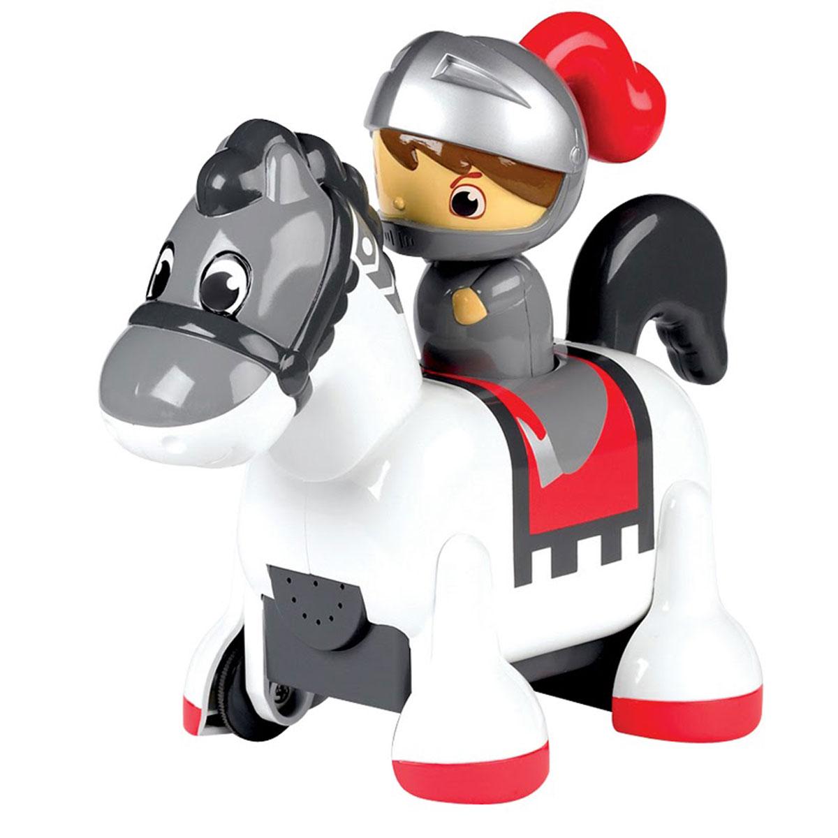 Tomy Развививающая игрушка Рыцарь-всадникE71914RU РыцарьРыцарь-всадник- эта оригинальная игрушка обязательно понравится вашему малышу. Игрушка представляет собой принца в доспехах, оседлавшего лошадку. Отважный рыцарь желает поскорее встретиться со своей принцессой и отправляется в увлекательное путешествие. Стоит только нажать на голову игрушки, она оживет и начнет двигаться, вращая головой и издавая звуки цоканья копыт. Игрушка способствует развитию у ребенка творческого мышления, фантазии, а также мелкой моторики. Игрушка выполнена из высококачественных материалов, не имеет острых углов, безопасна для ребенка. С такой игрушкой будет весело и дома, и на прогулке. Работает от 3-х батареек АА (в комплект не входят).