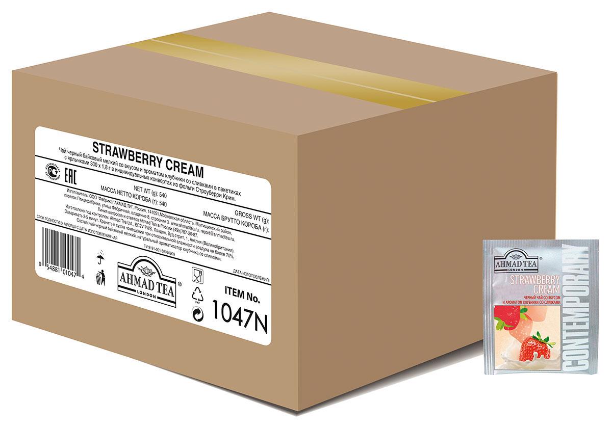 Ahmad Tea Strawberry Cream черный чай в пакетиках, 300 шт1047NСочетание клубники со сливками в Ahmad Tea Strawberry Cream - это классический десертный дуэт, в котором главную ноту играет клубника в томном сливочном соусе. В этом купаже вкус черного цейлонского чая дополнен сладкими ванильными нотами.