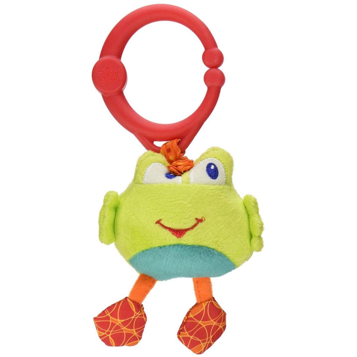 Bright Starts Мягкая развивающая игрушка-подвеска Дрожащий дружок: Лягушка8808-7Развивающая мягкая игрушка-подвеска Bright Starts Дрожащий дружок: Лягушка выполнена из текстильного материала различных цветов в виде милого лягушонка. К лягушонку крепится текстильная веревочка. Если игрушку потянуть вниз, то она начнет вибрировать до тех пор, пока веревочка не вернется в исходное положение. С помощью пластикового кольца игрушку легко можно прикрепить к кроватке, коляске или игровой дуге малыша. Развивающая мягкая игрушка-подвеска Дрожащий дружок: Лягушка поможет ребенку в развитии цветового и звукового восприятия, мелкой моторики рук, координации движений и тактильных ощущений.