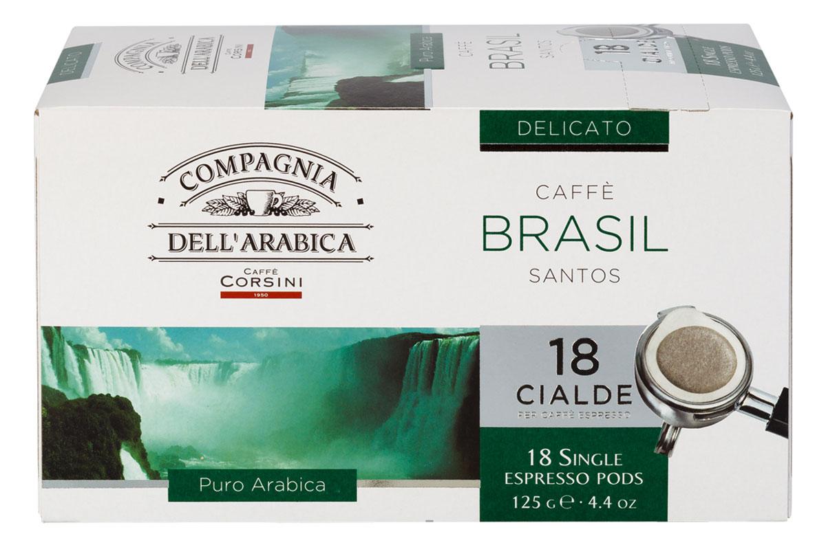 Compagnia DellArabica Brasil Santos кофе в чалдах, 18 шт8001684025756Compagnia DellArabica Brasil Santos - один из самых популярных сортов 100% арабики в мире. Теплота молочного шоколада, оживленная цитрусовыми акцентами тонко сочетается с линией свежести южно-американских цветущих садов. Для этого напитка характерна низкая кислотность и идеальная структура. Для приготовления в чалдовых кофемашинах.