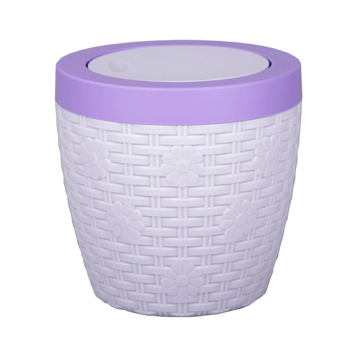 Контейнер для мусора Альтернатива Плетенка, цвет: светло-сиреневый, фиолетовый, 3 лМ2367Контейнер для мусора Альтернатива Плетенка изготовлен из прочного пластика. Внешние стенки оформлены оригинальным плетением. Такой аксессуар очень удобен в использовании, как дома, так и в офисе. Контейнер снабжен удобной поворачивающейся крышкой. Стильный дизайн сделает его прекрасным украшением интерьера.