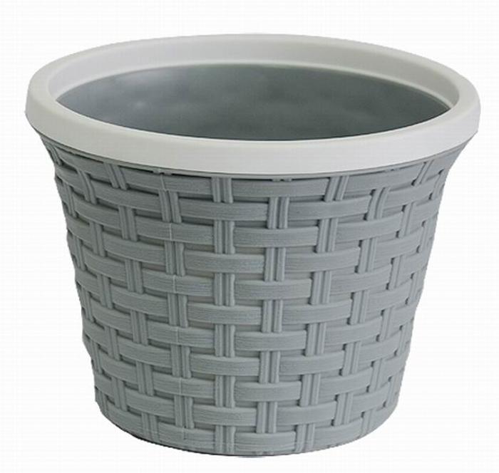 Кашпо Violet Ротанг, с дренажной системой, цвет: серый, 2,2 л32220/8Кашпо Violet Ротанг изготовлено из высококачественного пластика и оснащено дренажной системой для быстрого отведения избытка воды при поливе. Изделие прекрасно подходит для выращивания растений и цветов в домашних условиях. Лаконичный дизайн впишется в интерьер любого помещения. Объем: 2,2 л.