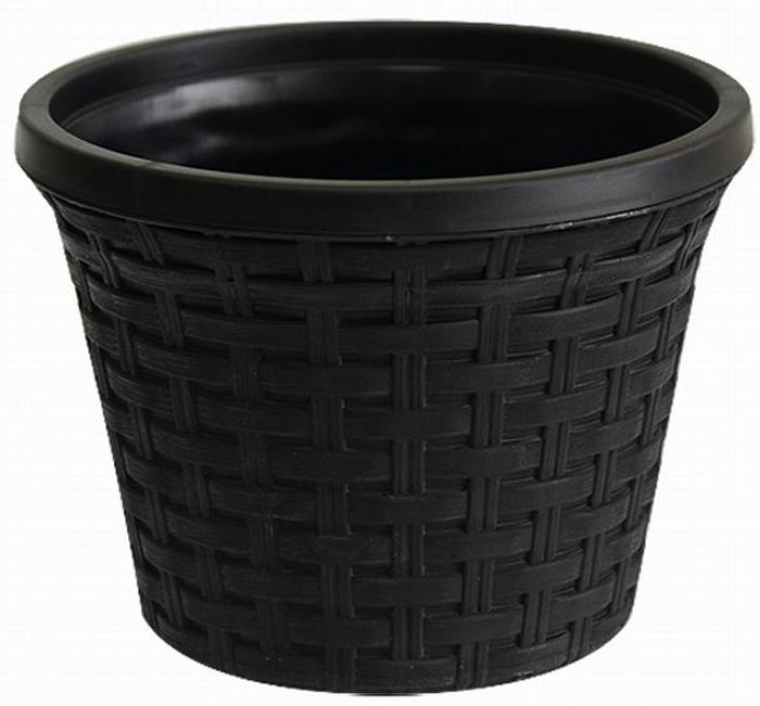 Кашпо Violet Ротанг, с дренажной системой, цвет: черный, 2,2 л32220/7Кашпо Violet Ротанг изготовлено из высококачественного пластика и оснащено дренажной системой для быстрого отведения избытка воды при поливе. Изделие прекрасно подходит для выращивания растений и цветов в домашних условиях. Лаконичный дизайн впишется в интерьер любого помещения. Объем: 2,2 л.