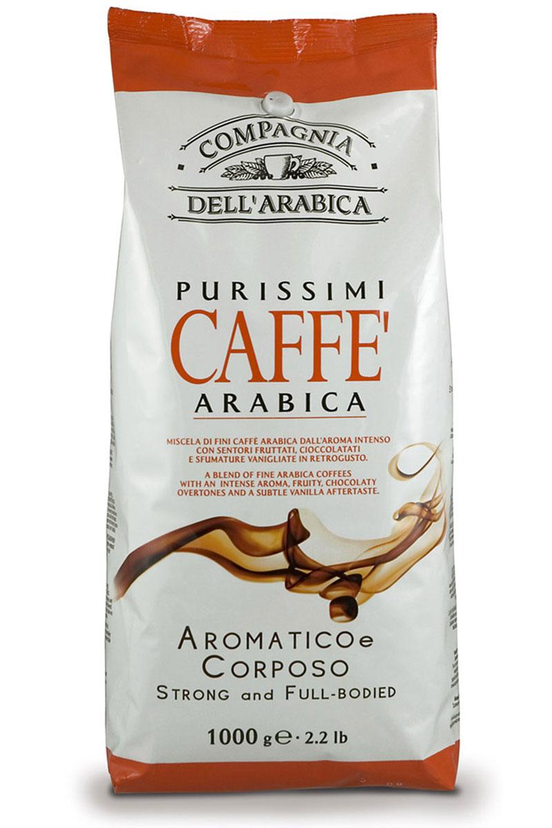 Compagnia DellArabica Purissimi Arabica Aromatico Corposo кофе в зернах, 1 кг1977628759780Compagnia DellArabica Purissimi Arabica Aromatico Corposo - элитный высокогорный сорт 100% арабики, считающийся поистине взрослым кофе. Это напиток с ярко выраженной кислинкой, проникающей терпкостью, интенсивным привкусом и освежающим бодрящим действием. Идеально подходит для приготовления эспрессо и напитков на его основе, любыми традиционными способами!