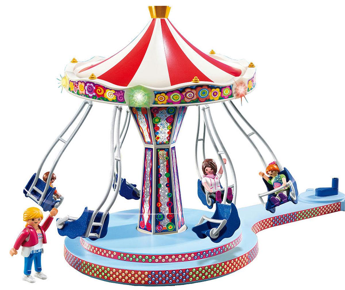 Playmobil Игровой набор Аттракцион Карусель5548Игровой набор Playmobil Аттракцион Карусель обязательно понравится вашему ребенку. Он выполнен из безопасного пластика и включает фигурки двух взрослых и двух детей и карусель с 6 креслами. Летающая карусель сверкает огнями и приглашает прокатиться так, чтобы в ушах засвистел ветер! При прокручивании ручки карусель начинает вращаться. У фигурок подвижные части тела. Они легко закрепляются в креслах. Ваш ребенок с удовольствием будет играть с набором, придумывая захватывающие истории. Рекомендуемый возраст: от 4 до 10 лет. Необходимо докупить 3 батарейки напряжением 1,5V типа ААА (не входят в комплект).
