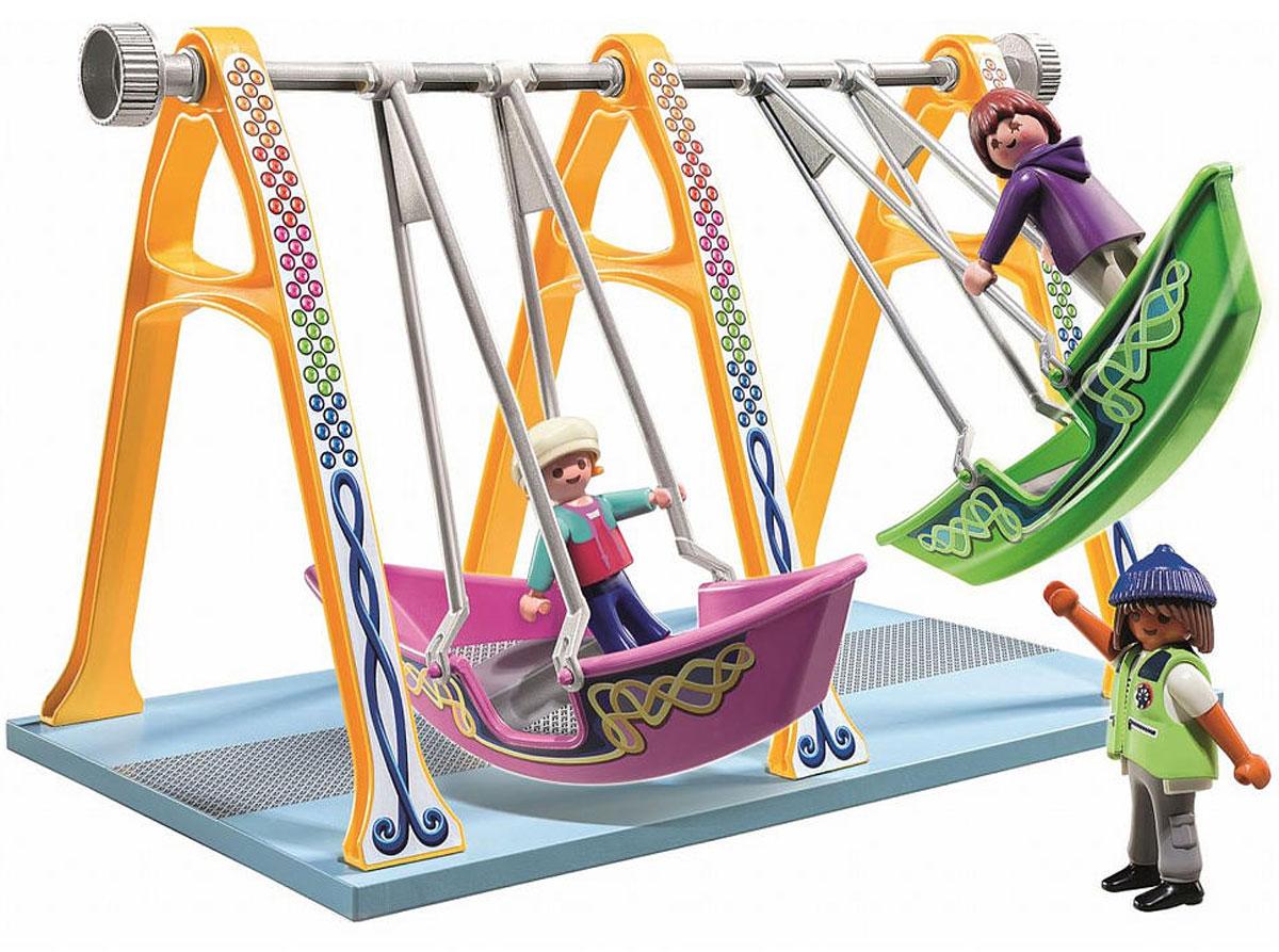 Playmobil Игровой набор Аттракцион Лодка5553Игровой набор Playmobil Аттракцион Лодка приведет в восторг вашего ребенка. Он выполнен из безопасного пластика и включает элементы для сборки площадки с двумя качелями, фигурки в виде двух взрослых и ребенка и другие аксессуары для игры. У фигурок подвижные части тела; в руках они могут удерживать предметы. Если хорошо закрепить фигурки на аттракционе, то на качелях можно даже переворачиваться вверх ногами. Ваш ребенок с удовольствием будет играть с набором, придумывая веселые истории. Рекомендуемый возраст: от 4 до 10 лет.