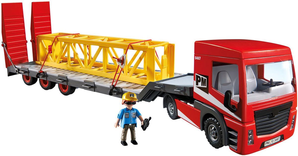 Playmobil Игровой набор Большой грузовик5467Игровой набор Playmobil Большой грузовик понравится вашему малышу и надолго увлечет его. В комплект входят: фигурка водителя, грузовик, груз, а также дополнительные аксессуары и элементы декора, которые сделают игру еще интереснее. Элементы набора выполнены из прочного пластика ярких цветов. Руки и голова фигурки подвижны, а благодаря специальной форме ручек, она может держать различные небольшие предметы, входящие в набор. Кабина грузовика наклоняется, крыша кабины снимается, фиксаторы в задней части кузова откидываются, образуя удобный заезд для автомобилей, а сам кузов без труда отсоединяется от кабины и присоединяется снова. Игры с таким набором позволят ребенку весело провести время, а также помогут развить мелкую моторику пальчиков, внимательность и воображение. Порадуйте своего малыша такой чудесной игрушкой!