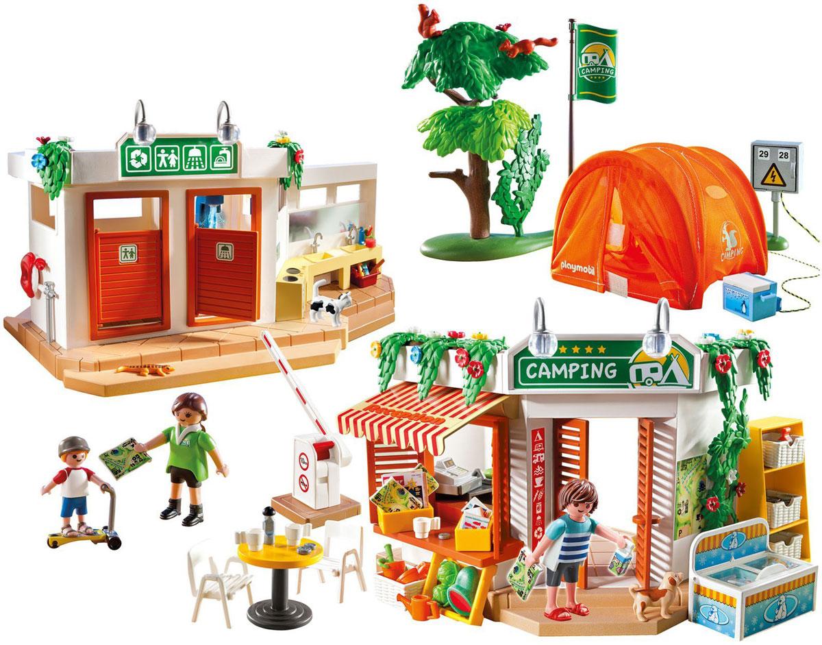 Playmobil Игровой набор Большой кемпинг5432pmИгровой набор Playmobil Большой кемпинг обязательно понравится вашему ребенку. Он выполнен из безопасного пластика и включает три фигурки в виде взрослых и ребенка, фигурки в виде животных, складную палатку с устройством для подключения электричества, душевой модуль с помпой, санитарное оборудование, магазин-кафе с мебелью и продуктами, шлагбаум, фигурки животных и другие аксессуары для игры. У фигурок подвижные части тела; в руках они могут удерживать предметы. Яркая оранжевая палатка, выполненная из текстильного материала, складывается в плоскую конструкцию. Шлагбаум поднимается и опускается при нажатии кнопки. Помпа в душевом модуле начинает работать при нажатии голубой кнопки, расположенной за кабинкой. Ваш ребенок с удовольствием будет играть с набором, придумывая веселые истории. Рекомендуемый возраст: от 4 до 10 лет.