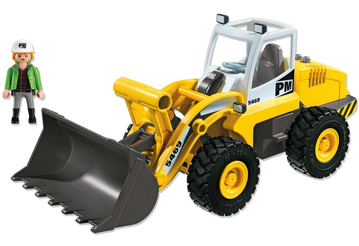 Playmobil Игровой набор Большой фронтальный погрузчик5469Игровой набор Playmobil Большой фронтальный погрузчик понравится вашему маленькому строителю и надолго увлечет его. В комплект входят: фигурка водителя, погрузчик, а также множество разнообразных аксессуаров, которые сделают игру еще интереснее. Элементы набора выполнены из прочного пластика ярких цветов. Руки и голова фигурки подвижны, а благодаря специальной форме ручек, она может держать различные небольшие предметы, входящие в набор. Погрузчик оснащен подвижным ковшом, который может подниматься и опускаться, его капот приподнимается, а под ним располагается двигатель. Игры с таким набором позволят ребенку весело провести время, а также помогут развить мелкую моторику пальчиков, внимательность и воображение. Порадуйте своего малыша такой чудесной игрушкой!