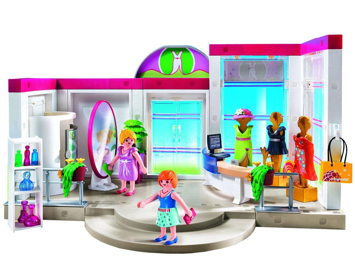 Playmobil Игровой набор Бутик с одеждой и гардеробной5486pmИгровой набор Playmobil Бутик с одеждой и гардеробной позволит вашей дочурке посетить магазин модной одежды и попробовать себя в роли дизайнера. В комплект входят: 2 фигурки, бутик, 5 элементов одежды, зеркало, касса, а также дополнительные аксессуары и элементы декора. Элементы набора выполнены из прочного пластика ярких цветов и легко соединяются между собой. Руки и головы фигурок подвижны, а благодаря специальной форме ручек, они могут держать различные небольшие предметы, входящие в набор. Отправляйтесь вместе с жительницами города Playmobil в модный бутик. Здесь вы найдете разнообразные стильные наряды и аксессуары. В гардеробной можно примерить понравившиеся платья. Благодаря входящим в комплект нарядам, фигурки можно переодевать. Набор позволит создать до 10 модных комбинаций! Двери бутика и гардеробной открываются. Здесь все, как в настоящем модном магазине - большие зеркала, компьютер с кассой, масса аксессуаров. Игры с таким набором позволят...