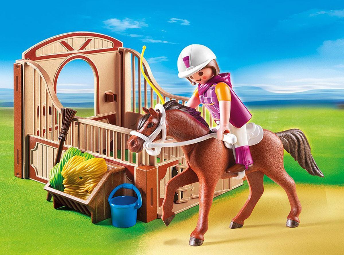 Playmobil Игровой набор Гоночная лошадка и загон5518Игровой набор Playmobil Гоночная лошадка и загон обязательно понравится вашему ребенку. Он выполнен из безопасного пластика и включает элементы для сборки стойла открытого типа, фигурки в виде наездницы и лошадки и различные аксессуары для игры. У фигурки наездницы подвижные части тела; в руках она может удерживать предметы. Фигурка прекрасно сидит в седле лошади, удерживая поводья. После прогулки лошадка отправляется в стойло, ест сено и пьет воду из ведерка. Ваш ребенок с удовольствием будет играть с набором, придумывая увлекательные истории. Рекомендуемый возраст: от 4 до 10 лет.