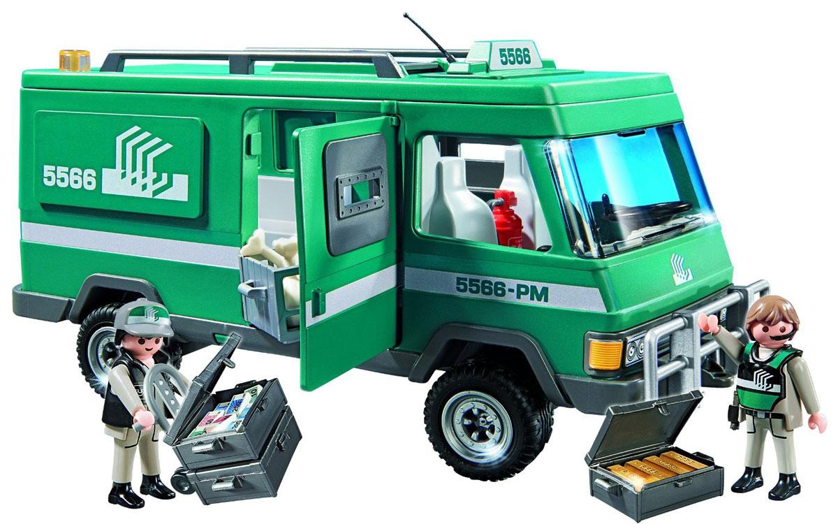 Playmobil Игровой набор Инкассаторский автомобиль5566Игровой набор Playmobil Инкассаторский автомобиль понравится вашему малышу и надолго увлечет его. В комплект входят: 2 фигурки инкассаторов, автомобиль, сейф, а также множество разнообразных аксессуаров, которые сделают игру еще интереснее. Элементы набора выполнены из прочного пластика ярких цветов. Руки и головы фигурок подвижны, а благодаря специальной форме ручек, они могут держать различные небольшие предметы, входящие в набор. В бронированном автомобиле инкассаторов безопасно перевозить деньги и золото. А вы можете присмотреть за ценностями, сняв крышу. Игры с таким набором позволят ребенку весело провести время, а также помогут развить мелкую моторику пальчиков, внимательность и воображение. Порадуйте своего малыша такой чудесной игрушкой!