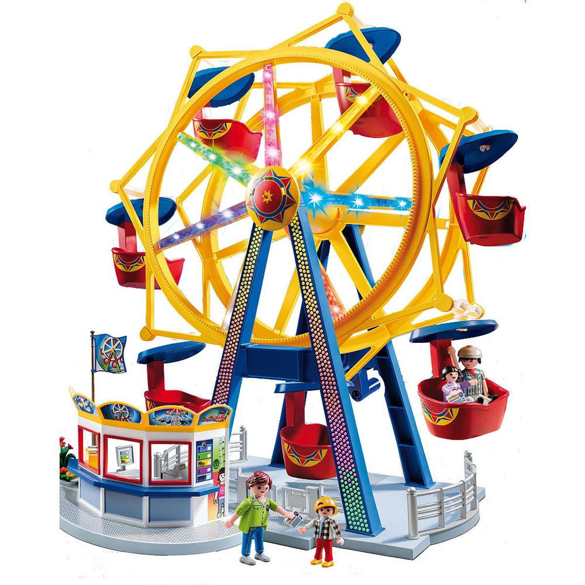 Playmobil Игровой набор Колесо обозрения с огнями5552Игровой набор Playmobil Колесо обозрения с огнями обязательно понравится вашему ребенку. Он выполнен из безопасного пластика и включает фигурки двух взрослых и двух детей, колесо обозрения с 8 кабинками и аксессуары для увлекательной игры. Колесо обозрения сверкает огнями и приглашает прокатиться, чтобы увидеть город с высоты! При прокручивании ручки колесо начинает вращаться. У фигурок подвижные части тела. В одной кабине легко поместятся две фигурки. Ваш ребенок с удовольствием будет играть с набором, придумывая захватывающие истории. Рекомендуемый возраст: от 4 до 10 лет. Необходимо докупить 4 батарейки напряжением 1,5V типа ААА (не входят в комплект).