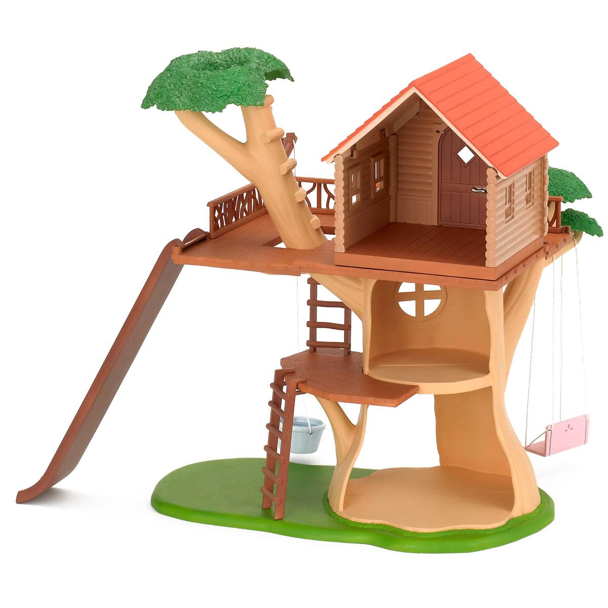 Sylvanian Families Игровой набор Дом-дерево2882Игровой набор Sylvanian Families Дом-дерево привлечет внимание вашего малыша и не позволит ему скучать. Набор включает сборное дерево с домиком и лестницей, подвесные качели, веревочную конструкцию для подъема наверх тяжестей, горку. Домик стилизован под деревянный, жить в нем - одно удовольствие, тем более, его можно при желании обставить по своему вкусу! Ваша малышка будет часами играть с набором, придумывая различные истории. Sylvanian Families - это целый мир маленьких жителей, объединенных общей легендой. Жители страны Sylvanian Families - это кролики, белки, медведи, лисы и многие другие. У каждого из них есть дом, в котором есть все необходимое для счастливой жизни. В городе, где живут герои, есть школа, больница, рынок, пекарня, детский сад и множество других полезных объектов. Жители этой страны живут семьями, в каждой из которой есть дети. В домах Sylvanian Families царит уют и гармония.