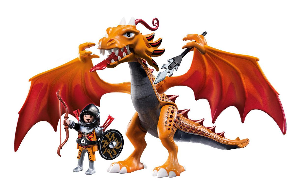 Playmobil Игровой набор Огненный Дракон5483pmИгровой набор Playmobil Огненный Дракон обязательно понравится вашему ребенку. Он выполнен из безопасного пластика и включает две фигурки в виде воина и дракона, а также оружие и аммуницию воина. У фигурок подвижные части тела; воин может удерживать в руках предметы. Если посадить воина в доспехах на дракона, он будет крепко держаться, упираясь ногами в крылья. Ваш ребенок с удовольствием будет играть с набором, придумывая захватывающие истории. Рекомендуемый возраст: от 5 до 12 лет.