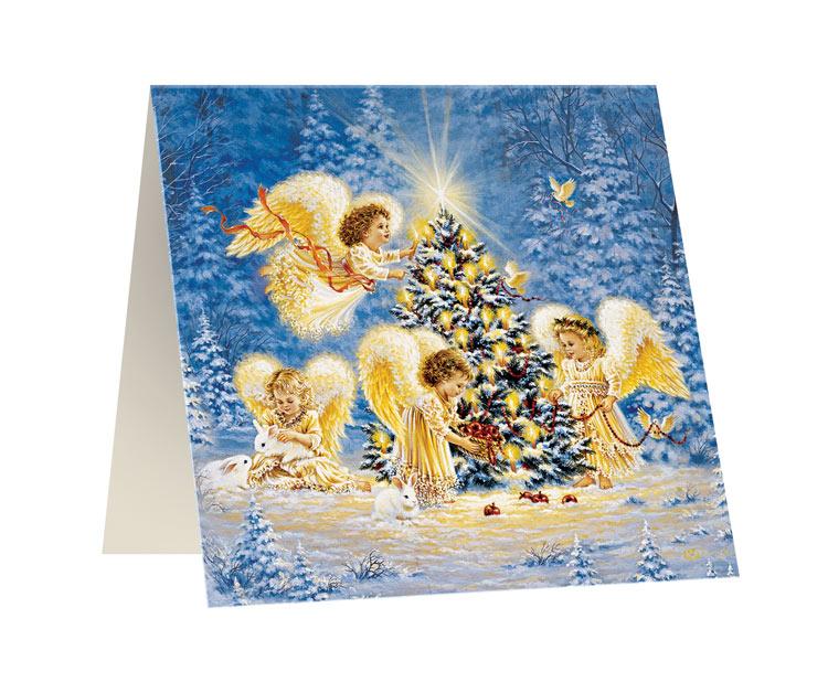 Открытка Правила Успеха Свет ангела, 10 х 10 см4610009210674Открытка Правила Успеха Свет ангела изготовлена из картона, изделие декорировано красочным изображением ангелов у рождественской ели. Такая открытка станет прекрасным дополнением к подарку и порадует получателя.