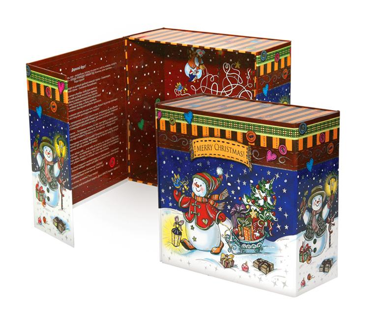 Коробка раскладная Снеговички 20*20*9 см б/р4610009210476