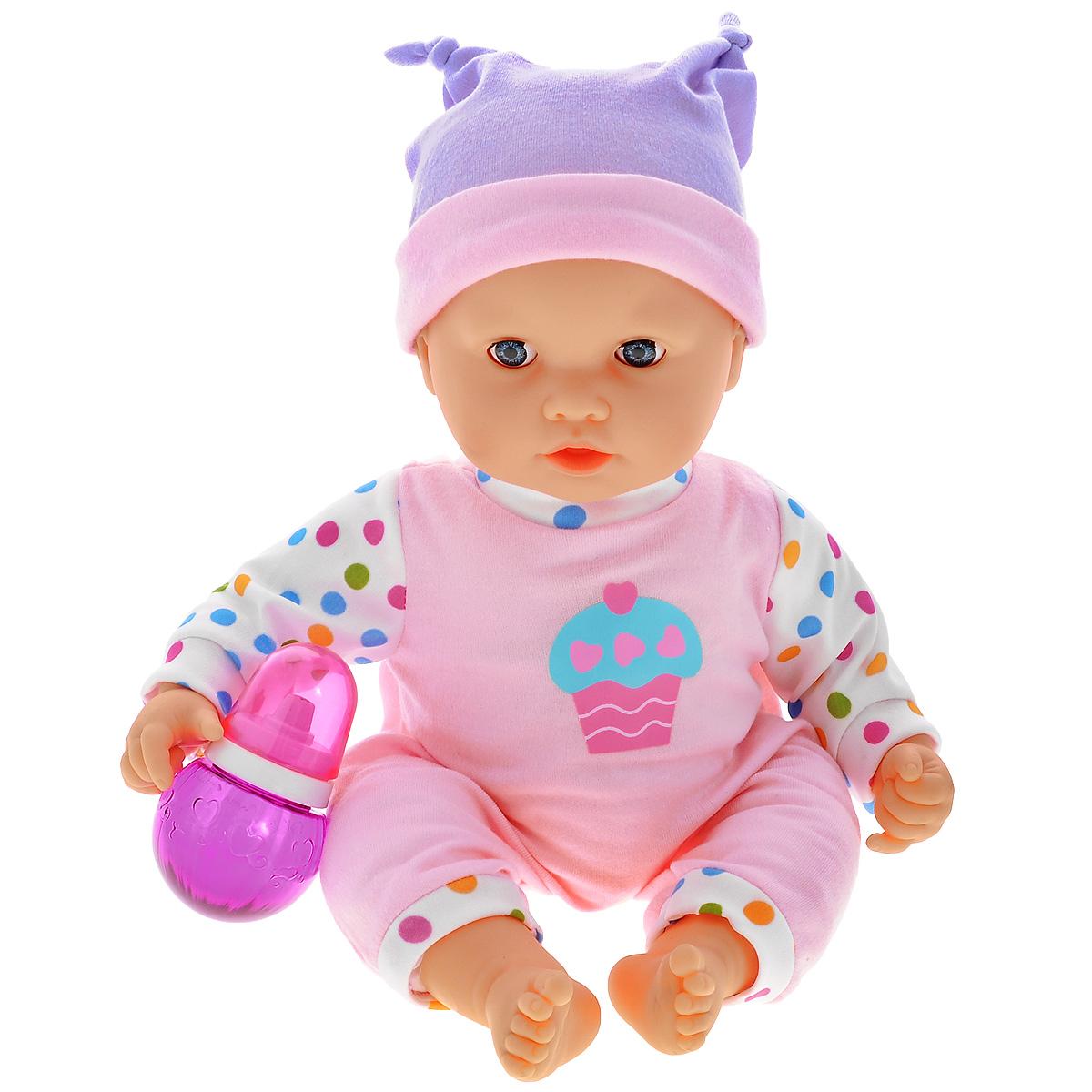 Пупс Joy Toy Мой малыш. Саша. 5311G589-H43044Пупс Joy Toy Мой малыш. Саша - это интерактивная кукла, которая ведет себя как настоящий ребенок. Вашей дочурке обязательно понравится играть с этим пупсом, ведь он будет ее внимательно слушать, а затем повторять за ней! Кукла порадует любую малышку и сделает социально-ролевые игры намного интереснее. Саша одет в красивый комбинезончик розового цвета с рисунком кекса, а на голове у него красуется шапочка. Если нажать малышу на правую руку, можно записать свой голос, а если нажать на левую, то выключится запись и можно прослушать результат. Набор содержит пупса в одежде и бутылочку.