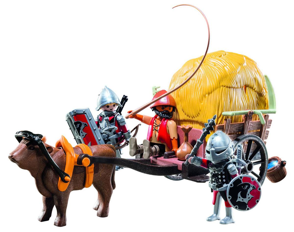 Playmobil Игровой набор Рыцари Сокола с камуфляжной повозкой6005Игровой набор Playmobil Рыцари Сокола с камуфляжной повозкой понравится вашему малышу и позволит ему почувствовать себя храбрым рыцарем. В комплект входят: 3 фигурки, повозка, стог сена, а также разнообразное оружие и аксессуары. Элементы набора выполнены из прочного пластика ярких цветов и легко соединяются между собой. Руки и головы фигурок подвижны, а благодаря специальной форме ручек, они могут держать различные небольшие предметы, входящие в набор. Стог сена приподнимается, под ним можно спрятать фигурки рыцарей. Вместе с Рыцарями Сокола проберись во вражеский замок в этой повозке с секретом. Никто не догадается, что под сеном прячутся два вооруженных рыцаря. Игры с таким набором позволят ребенку весело провести время. А процесс сборки игрушки поможет развить мелкую моторику пальчиков, внимательность и усидчивость. Порадуйте своего малыша такой чудесной игрушкой!