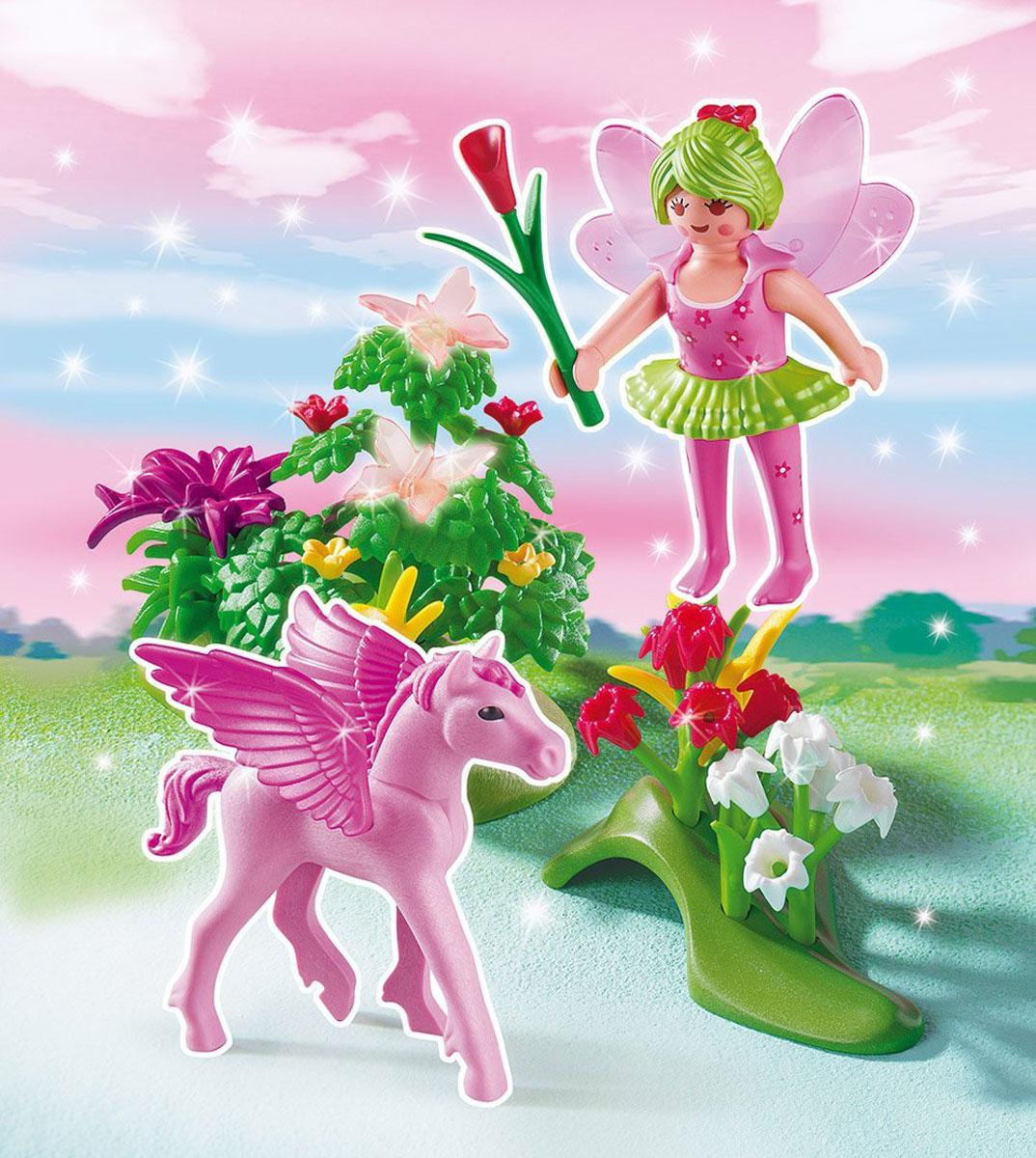 Playmobil Игровой набор Сказочная Принцесса Весны с летающей лошадкой5351pmИгровой набор Playmobil Сказочная Принцесса Весны с летающей лошадкой обязательно понравится вашему ребенку. Он выполнен из безопасного пластика и включает фигурку принцессы Весны, ее Пегаса, две клумбы с цветами и другие аксессуары для игры. У принцессы подвижные части тела; в руках она может удерживать предметы. Ваш ребенок с удовольствием будет играть с набором, придумывая удивительные истории. Доступны мобильные приложения. Рекомендуемый возраст: от 4 до 10 лет.