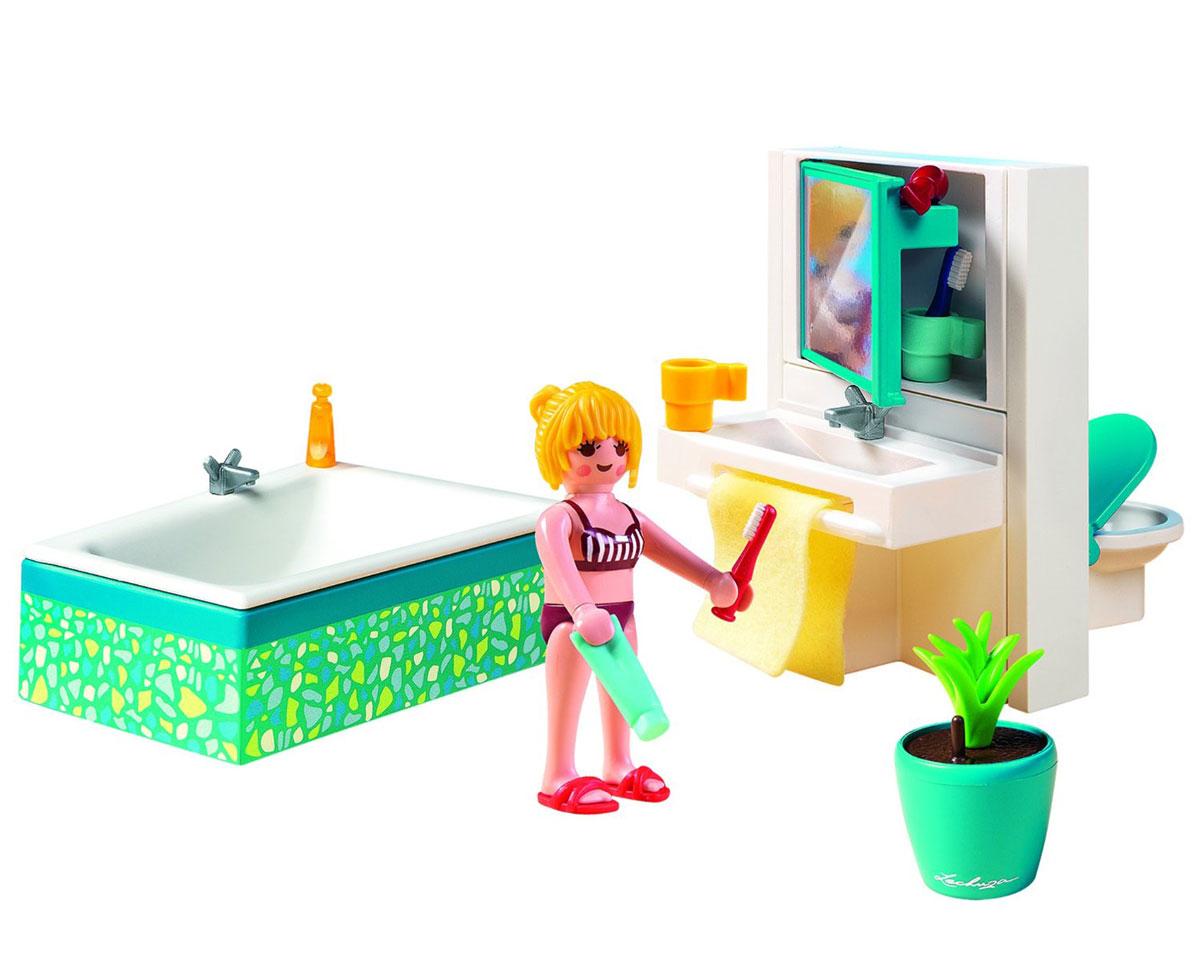 Playmobil Игровой набор Современная ванная комната5577Игровой набор Playmobil Современная ванная комната обязательно понравится вашему ребенку. Он выполнен из безопасного пластика и включает фигурку девочки, ванну, шкафчик с зеркалом, унитаз, горшок с цветком и туалетные принадлежности. У фигурки подвижные части тела; в руках она может удерживать предметы. Все принадлежности можно убрать во вместительный шкафчик. Ваш ребенок с удовольствием будет играть с набором, придумывая захватывающие истории. Рекомендуемый возраст: от 4 до 10 лет.