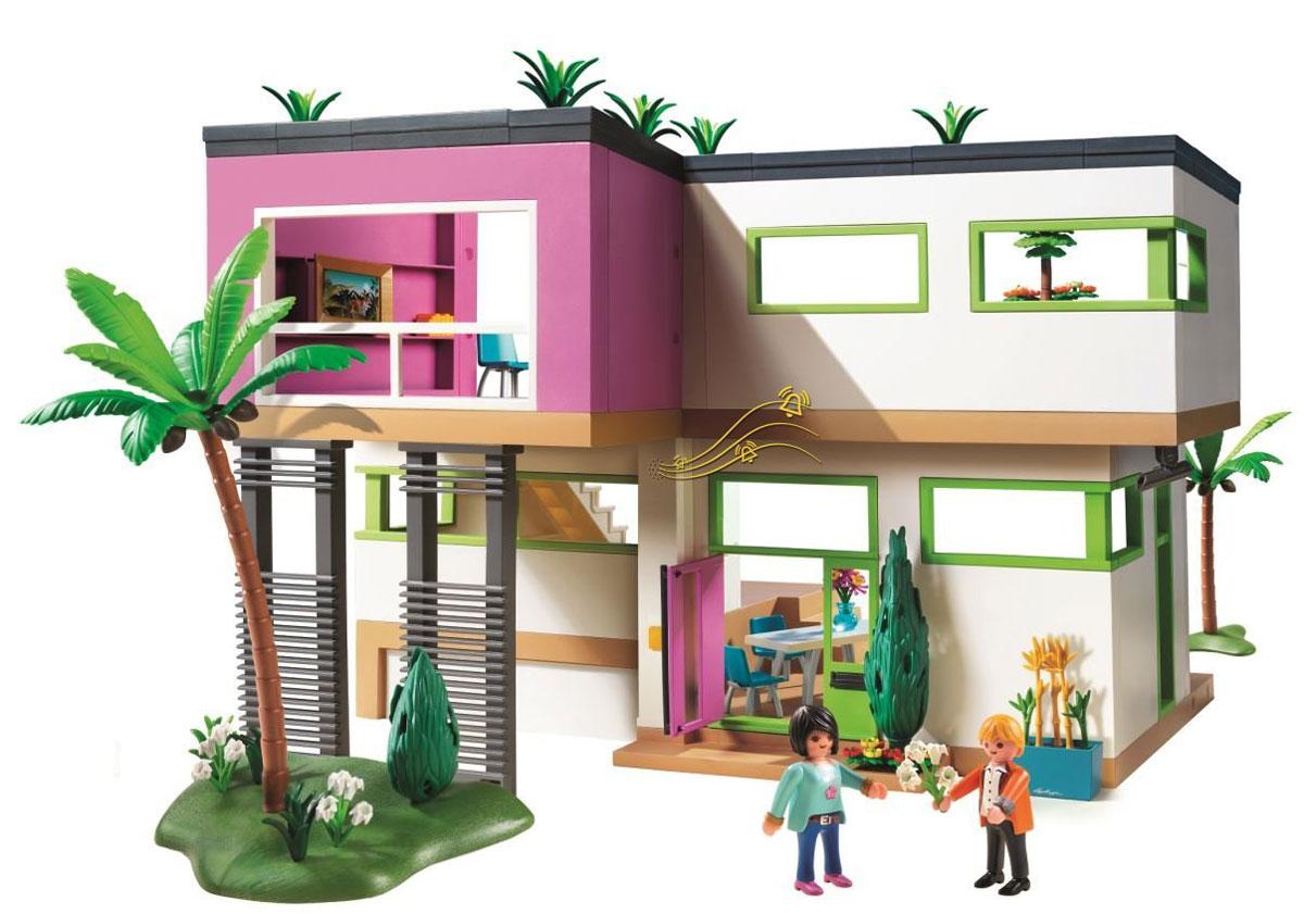 Playmobil Игровой набор Современный роскошный особняк5574Игровой набор Playmobil Современный роскошный особняк понравится вашей малышке и надолго увлечет ее. В комплект входят: 2 фигурки человечков, особняк, а также множество разнообразных аксессуаров и элементов декора, которые сделают игру еще интереснее. Элементы набора выполнены из прочного пластика ярких цветов. Руки и головы фигурок подвижны, а благодаря специальной форме ручек, они могут держать различные небольшие предметы, входящие в набор. Игрушка оснащена звуковыми эффектами - при нажатии на кнопку звонка раздастся звуковой сигнал. Гости звонят в дверь? Встречайте гостей. Камера наблюдения покажет, кто пришел. Пока гости любуются видом из окна, приготовьте им кофе в кофейнике. И никто не узнает, что за картиной в гостиной скрывается сейф. Игры с таким набором позволят ребенку весело провести время, а также помогут развить мелкую моторику пальчиков, внимательность и воображение. Порадуйте свою малышку такой чудесной игрушкой! Необходимо докупить 2...