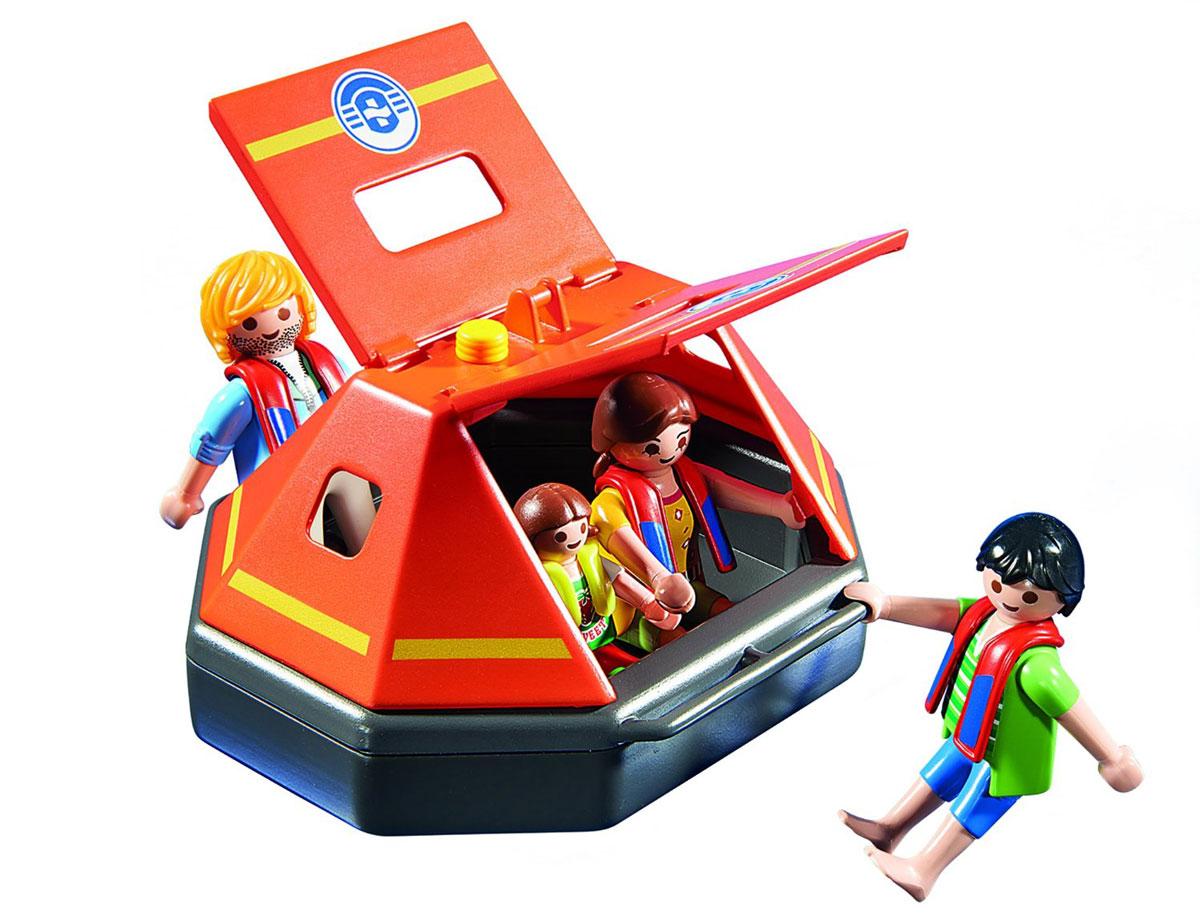 Playmobil Игровой набор Спасательный плот5545Игровой набор Playmobil Спасательный плот обязательно понравится вашему ребенку. Он выполнен из безопасного пластика и включает спасательный плот, фигурки в виде трех взрослых и ребенка, а также другие аксессуары. У фигурок подвижные части тела; в руках они могут удерживать предметы. Плот вмещает 4 человечков и держится на воде. Его можно подсоединить к спасательному катеру (арт. 5540pm) или пожарному вертолету (арт. 5542pm). В жару крышу плота можно открыть, а в шторм закрыть, защищая пассажиров от воды. Ваш ребенок с удовольствием будет играть с набором, придумывая захватывающие истории. Рекомендуемый возраст: от 4 до 10 лет.