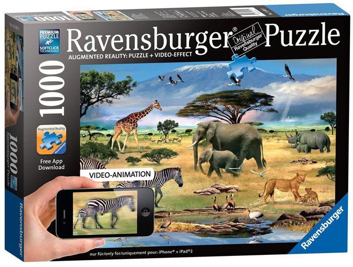 Ravensburger Пазл Животные Африки, с видео-анимацией, 1000 шт19305Пазлы с видеоэффектом - это инновационные пазлы от Ravensburger с видео-анимацией и звуковыми эффектами! Благодаря новейшей AR-технологии собранная картинка оживает! Для этого нужно загрузить на iPhone или iPad бесплатное приложение App AR Puzzle и навести камеру гаджета на картинку. На данном пазле вы увидите множество африканских животных, гуляющих по саванне. Такой паззл будет прекрасным подарком ребенку, увлеченному инновационными идеями и разработками. Размер картинки: 70х50 см.