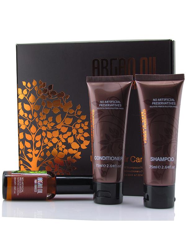 Morocco Argan Oil Набор: шампунь 75мл, кондиционер 75мл, масло арганы 30мл6590192Набор косметики на основе драгоценного масла арганы и растительных экстрактов в удобной упаковке для волос всех типов. Средства великолепно увлажняют волосы, восстанавливают их структуру, защищают от внешних факторов. Мини-версии профессиональной косметики на основе масла арганы и природных ингредиентов обеспечат нежный полноценный уход, вернут волосам свежесть и сияние блеска, а Ваш чемодан не будет переполнен большими упаковками. В дорожный набор Morocco Argan Oil входит: Увлажняющий шампунь с маслом арганы Morocco Argan Oil (75 мл), который деликатно устраняет загрязнения, восстанавливает оптимальный баланс влаги, делает волосы блестящими, послушными и гладкими. Шампунь с маслом арганы может использовать в ежедневном уходе за волосами любого типа, делая волосы сильными и густыми! Увлажняющий кондиционер с маслом арганы Morocco Argan Oil (75 мл) делает волосы максимально гладкими и послушными, предотвращает их спутывание, помогает восстановить структуру. Кондиционер на основе...