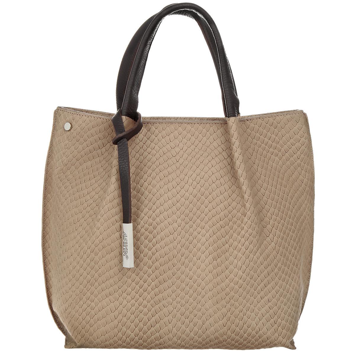 Сумка женская Afina, цвет: коричневый, бежевый. 865865Изысканная женская сумка Afina выполнена из натуральной качественной кожи с фактурным тиснением под рептилию. Ручка украшена брелоком с гравировкой названия бренда производителя. Сумка закрывается на пластиковую застежку-молнию. Модель имеет одно основное отделение, разделенное пополам карманом-средником на застежке-молнии. Внутри имеется прорезной кармашек на застежке-молнии и два накладных кармашка для телефона и мелочей. Снаружи на задней стенке располагается прорезной карман на застежке-молнии. Изделие оснащено двумя удобными ручками. В комплекте съемный плечевой ремень, который регулируется по длине. Роскошная сумка внесет элегантные нотки в ваш образ и подчеркнет ваше отменное чувство стиля.