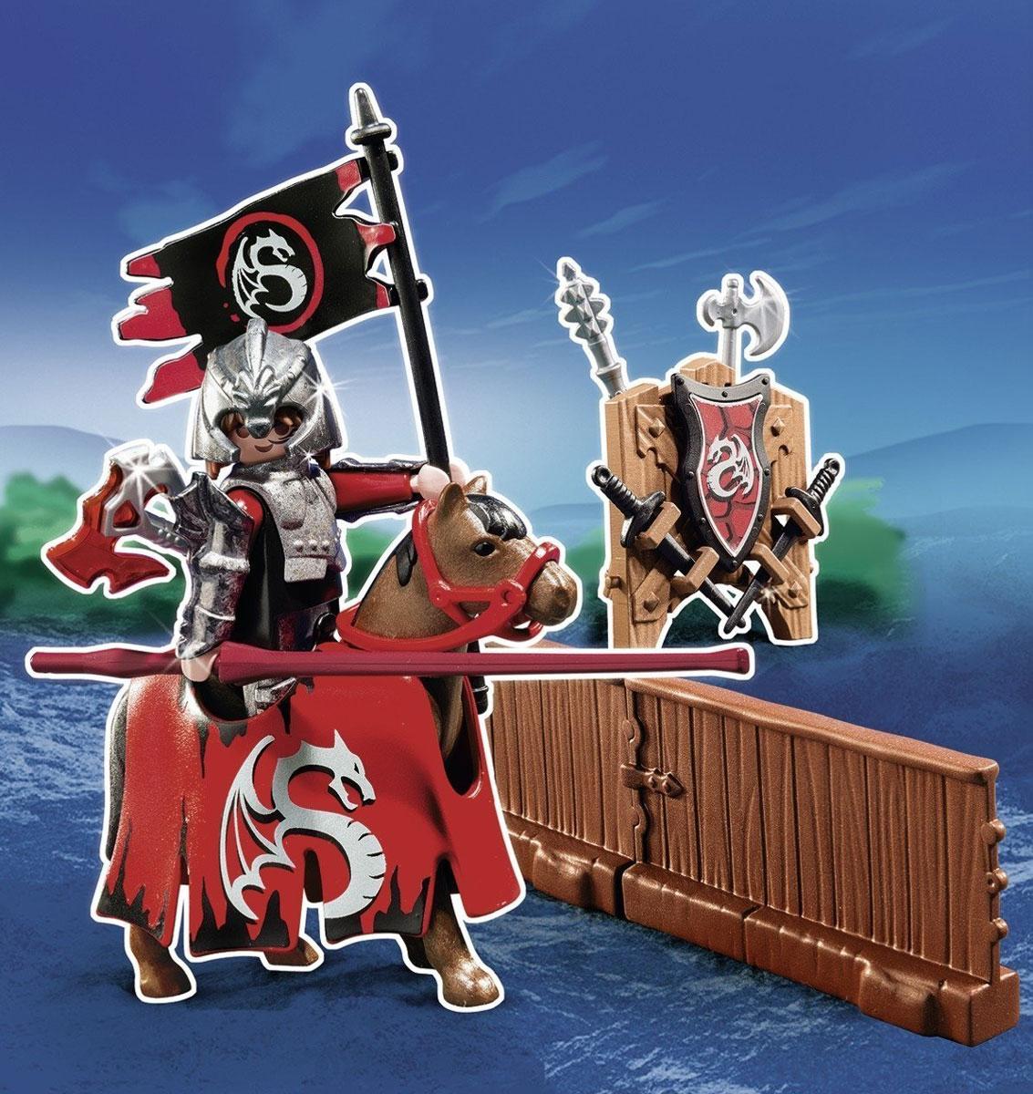 Playmobil Игровой набор Турнир рыцаря ордена Дракона5358pmИгровой набор Playmobil Турнир рыцаря ордена Дракона обязательно понравится вашему ребенку. Он выполнен из безопасного пластика и включает фигурку рыцаря ордена Дракона, его лошадь, оружие, изгородь и другие аксессуары для игры. У рыцаря подвижные части тела; в руках он может удерживать предметы. Испытанный конь вовремя уведет рыцаря из-под удара врага. Фрагмент изгороди можно соединить с другими частями и образовать замкнутый круг. Ваш ребенок с удовольствием будет играть с набором, придумывая захватывающие истории. Доступны мобильные приложения. Рекомендуемый возраст: от 4 до 10 лет.