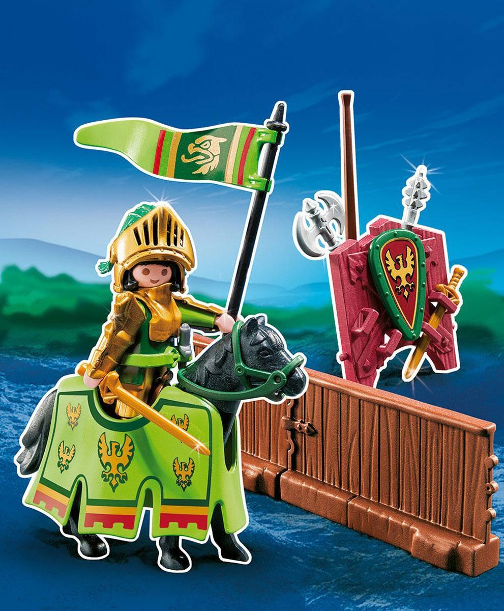 Playmobil Игровой набор Турнир рыцаря ордена Орла5355pmИгровой набор Playmobil Турнир рыцаря ордена Орла обязательно понравится вашему ребенку. Он выполнен из безопасного пластика и включает фигурку рыцаря ордена Орла, его лошадь, оружие, изгородь и другие аксессуары для игры. У рыцаря подвижные части тела; в руках он может удерживать предметы. Рыцарь вооружен мечом, секирой, пикой и кинжалом. Арену отделяет от зрителей изгородь. Ее можно соединить с другими частями изгороди и образовать замкнутый круг. Ваш ребенок с удовольствием будет играть с набором, придумывая захватывающие истории. Доступны мобильные приложения. Рекомендуемый возраст: от 4 до 10 лет.