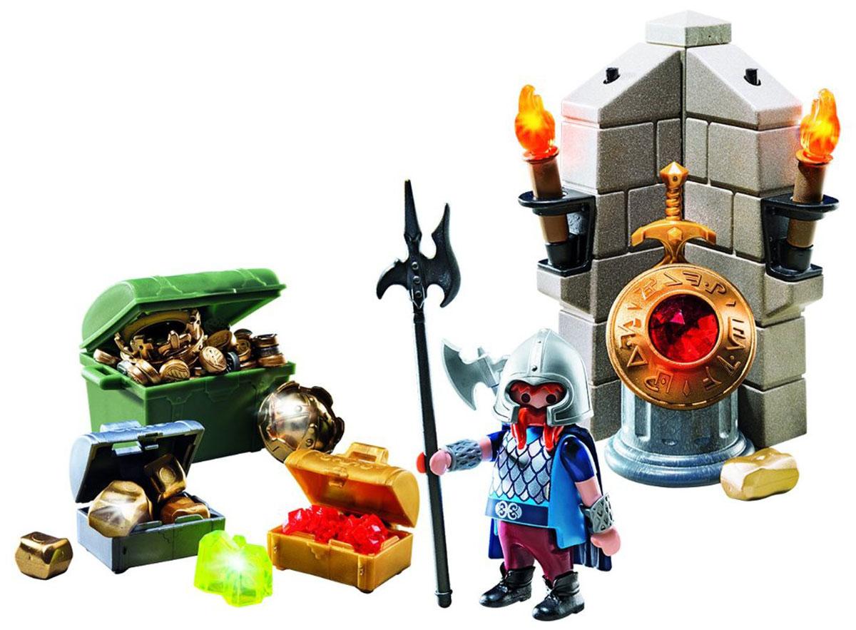 Playmobil Игровой набор Хранитель царских сокровищ6160Игровой набор Playmobil Хранитель царских сокровищ позволит малышу почувствовать себя настоящим охотником за сокровищами. В комплект входят: фигурка Хранителя сокровищ, оружие, крепостные стены, а также разнообразные драгоценности. Элементы набора выполнены из прочного пластика ярких цветов и легко соединяются между собой. Руки и голова фигурки подвижны, а благодаря специальной форме ручек, она может держать различные небольшие предметы, входящие в набор. Вместе с Хранителем стереги сундуки с царскими сокровищами, золотом и драгоценностями. Если воры нападут, у хранителя есть меч и алебарда. Если же воры попытаются подкрасться незаметно под покровом ночи, хранитель зажжет факелы. Игры с таким набором позволят ребенку весело провести время. А процесс сборки игрушки поможет малышу развить мелкую моторику пальчиков, внимательность и усидчивость. Порадуйте своего малыша такой чудесной игрушкой! Необходимо докупить 2 батарейки напряжением 1,5V типа ААА (не...