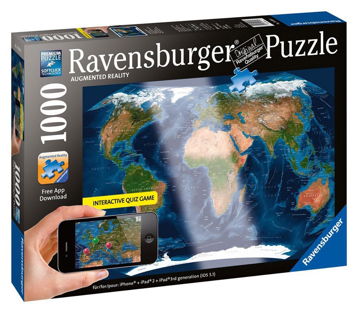 Ravensburger Пазл Планета Земля, с видео-анимацией, 1000 шт19308Пазлы с видеоэффектом - это инновационные пазлы от Ravensburger с видео-анимацией и звуковыми эффектами! Благодаря новейшей AR-технологии собранная картинка оживает! Для этого нужно загрузить на iPhone или iPad бесплатное приложение App AR Puzzle и навести камеру гаджета на картинку. На данном пазле вы увидите интерактивную карту Земли. Такой паззл будет прекрасным подарком ребенку, увлеченному инновационными идеями и разработками. Размер картинки: 70х50 см.