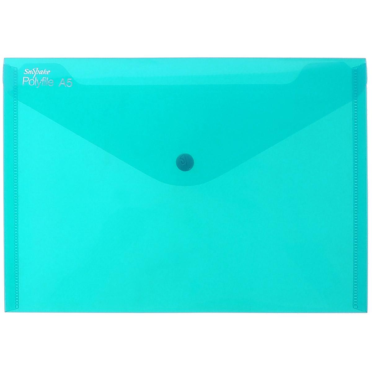 Snopake Папка-конверт на кнопке Polyfile: Electra, цвет: бирюзовый. Формат А5K11355_бирюзовыйПапка-конверт Snopake Polyfile: Electra - удобный и функциональный офисный инструмент, предназначенный для хранения и транспортировки рабочих бумаг и документов. Папка изготовлена из износостойкого полупрозрачного полипропилена бирюзового цвета, закрывается на клапан с кнопкой. Она имеет специальную вырубку, облегчающую изъятие документов. Папка оформлена тиснением в виде параллельной штриховки. Папка-конверт - это незаменимый атрибут для студента, школьника, офисного работника. Такая папка надежно сохранит ваши документы и сбережет их от повреждений, пыли и влаги. Папка сочетает в себе неизменно высокое качество Snopake и классический дизайн.