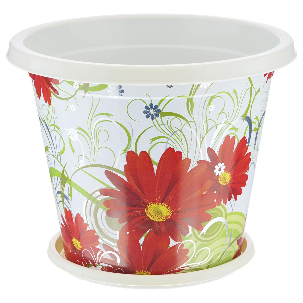 Горшок-кашпо Альтернатива Сюзанна, с поддоном, цвет: белый, красный, 1 лМ4047Горшок-кашпо Альтернатива Сюзанна изготовлен из прочного пластика и оформлен красивым цветочным рисунком. Круглый поддон предназначен для стока воды. Изделие подходит для выращивания растений и цветов в домашних условиях. Такой горшок порадует вас изысканным дизайном и функциональностью, а также оригинально украсит интерьер помещения. Диаметр горшка по верхнему краю: 15 см. Высота горшка: 12 см. Диаметр поддона: 11,5 см. Объем горшка: 1 л.